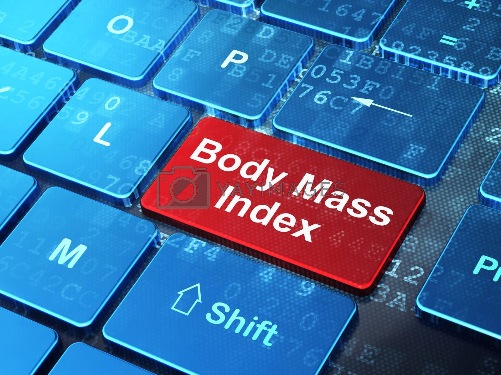 Healthcare concept: Body Mass Index on computer keyboard background by maxkabakov