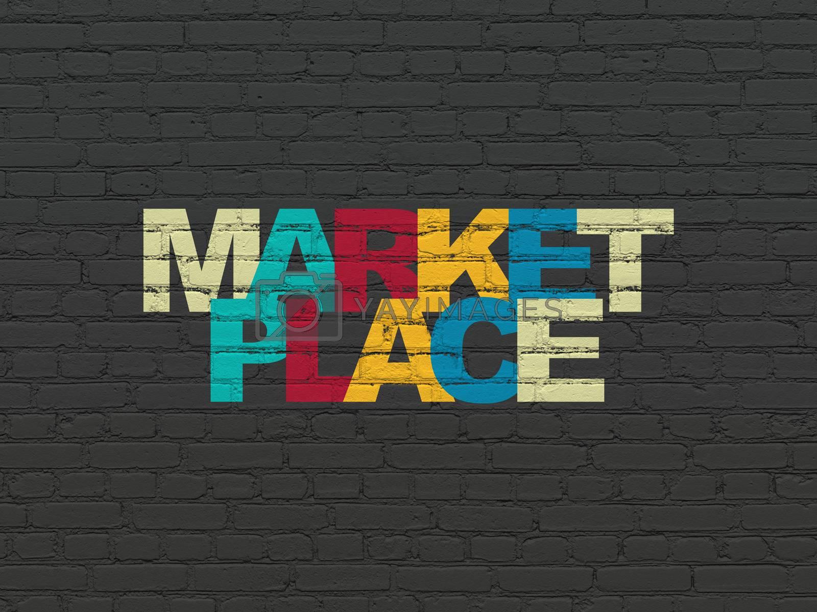 Marketing concept: Marketplace on wall background by maxkabakov