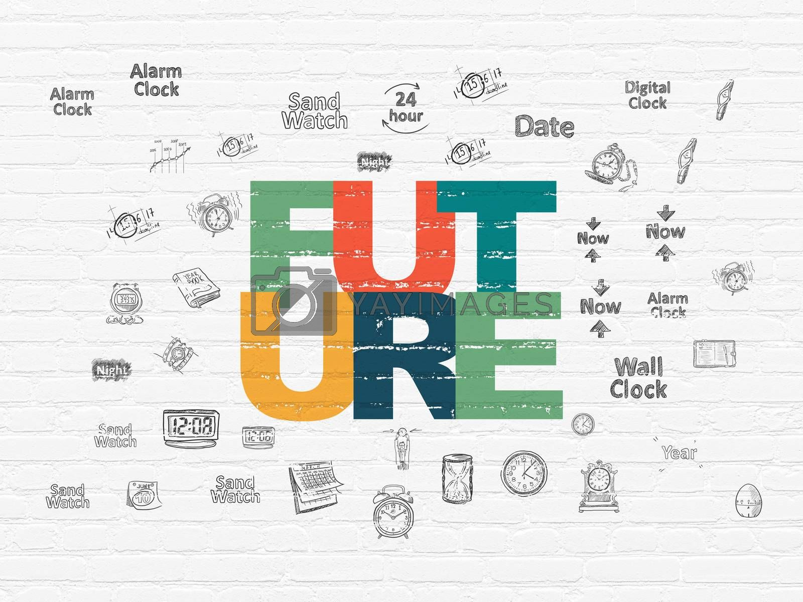 Time concept: Future on wall background by maxkabakov