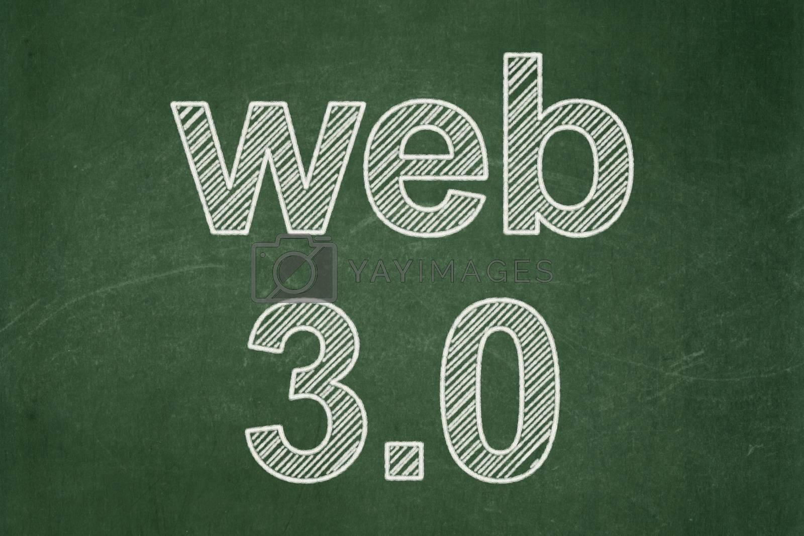 Web development concept: Web 3.0 on chalkboard background by maxkabakov