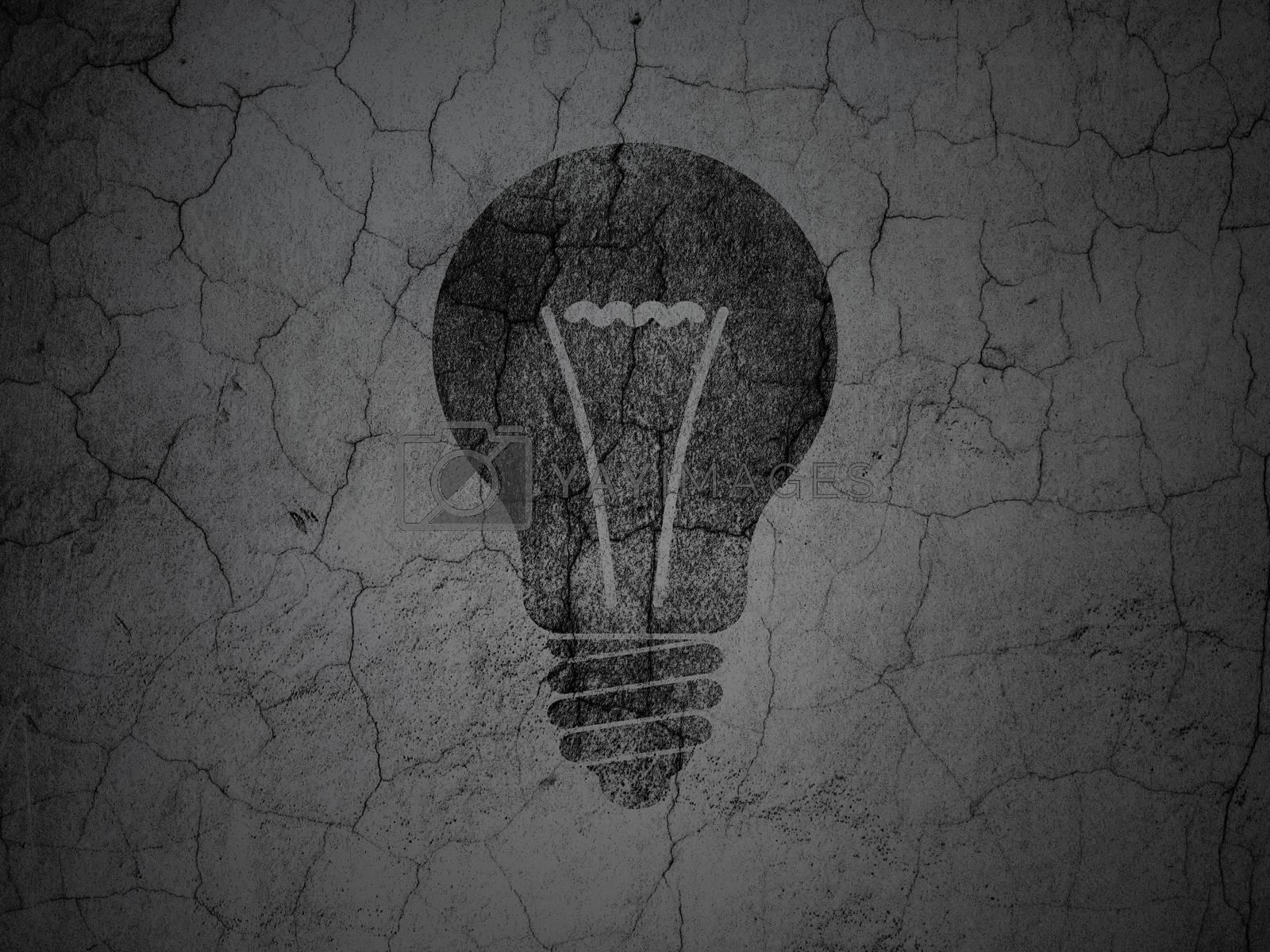 Finance concept: Light Bulb on grunge wall background by maxkabakov