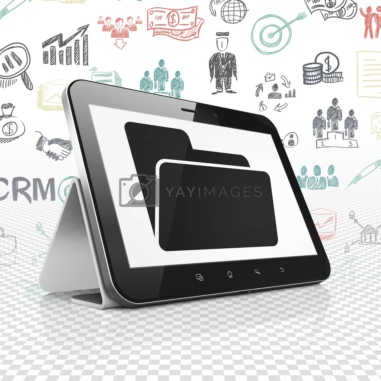 Business concept: Tablet Computer with Folder on display by maxkabakov