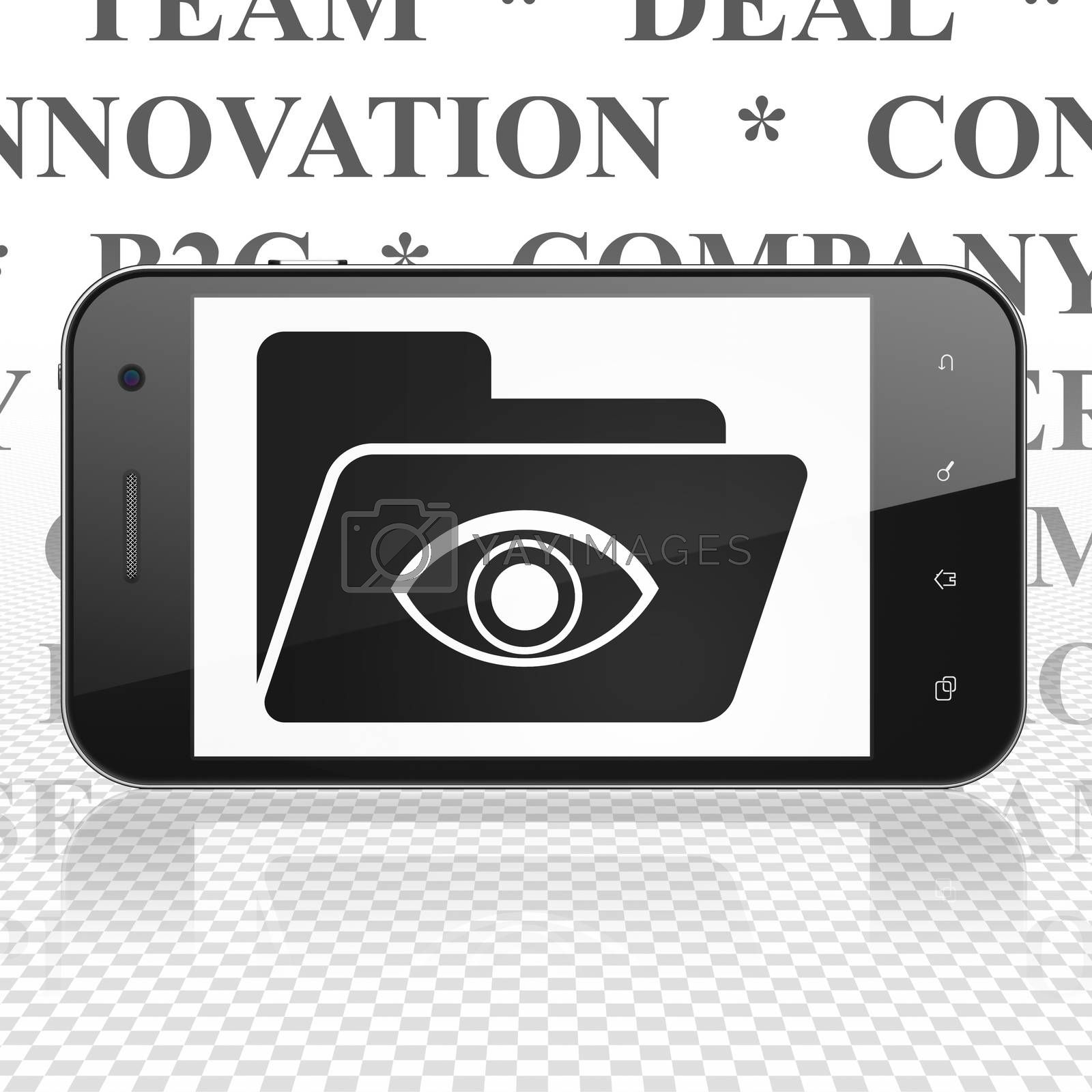 Finance concept: Smartphone with Folder With Eye on display by maxkabakov