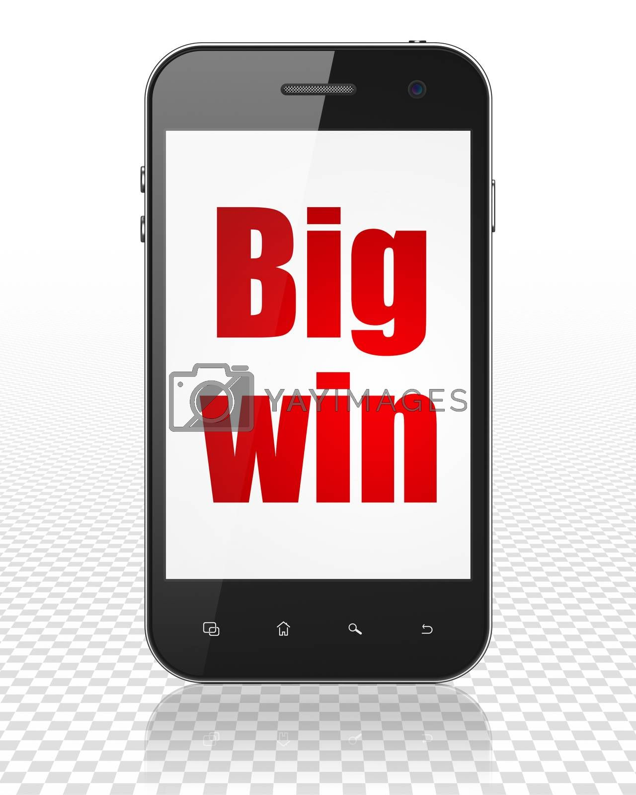 Business concept: Smartphone with Big Win on display by maxkabakov