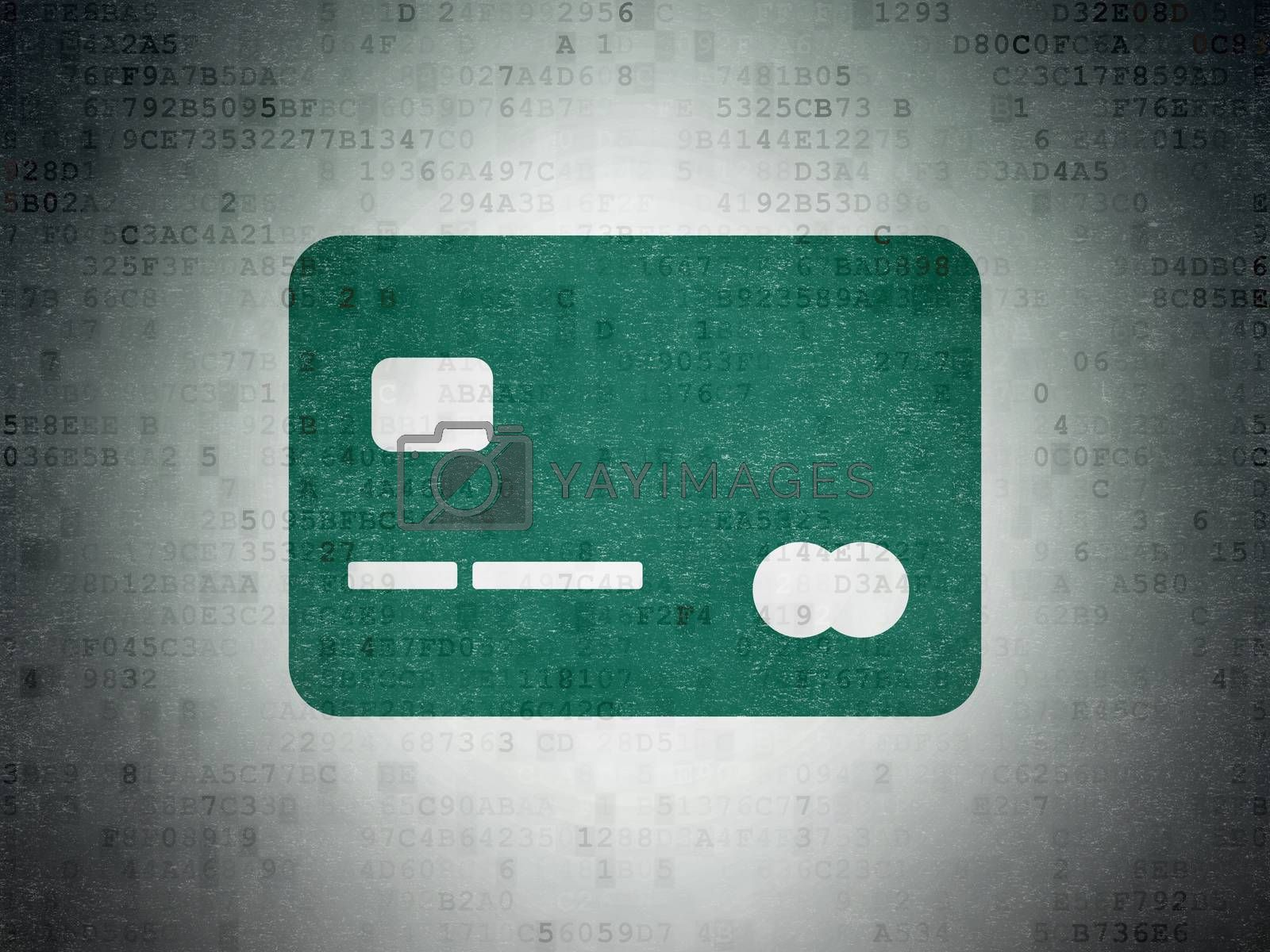 Business concept: Credit Card on Digital Paper background by maxkabakov