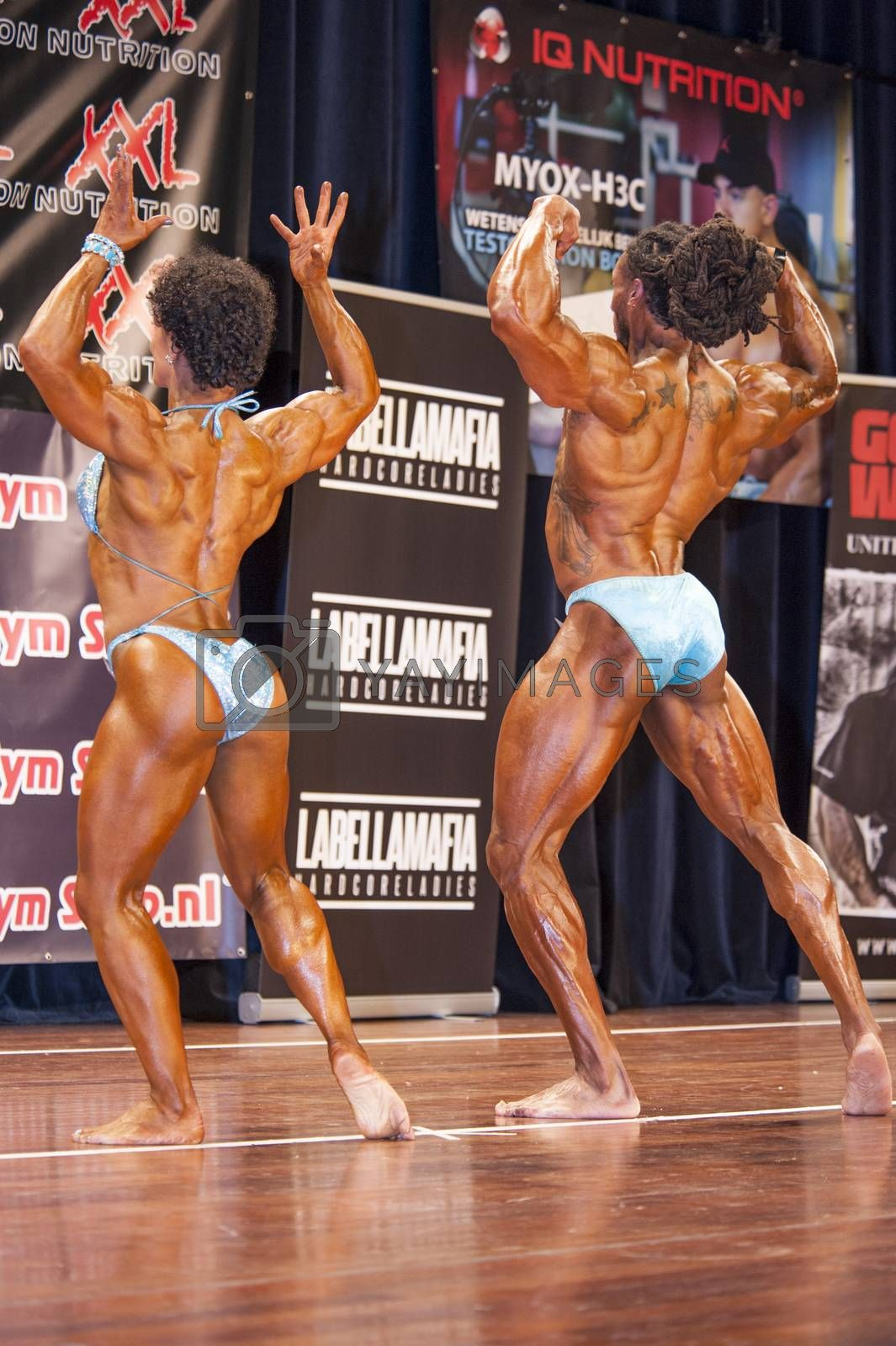 bodybuilding duo in back double biceps pose on stage by yellowpaul