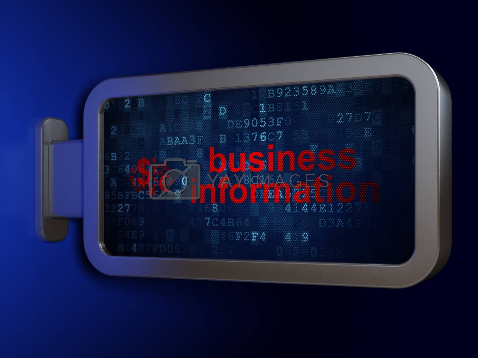 Finance concept: Business Information and Finance Symbol on billboard background by maxkabakov