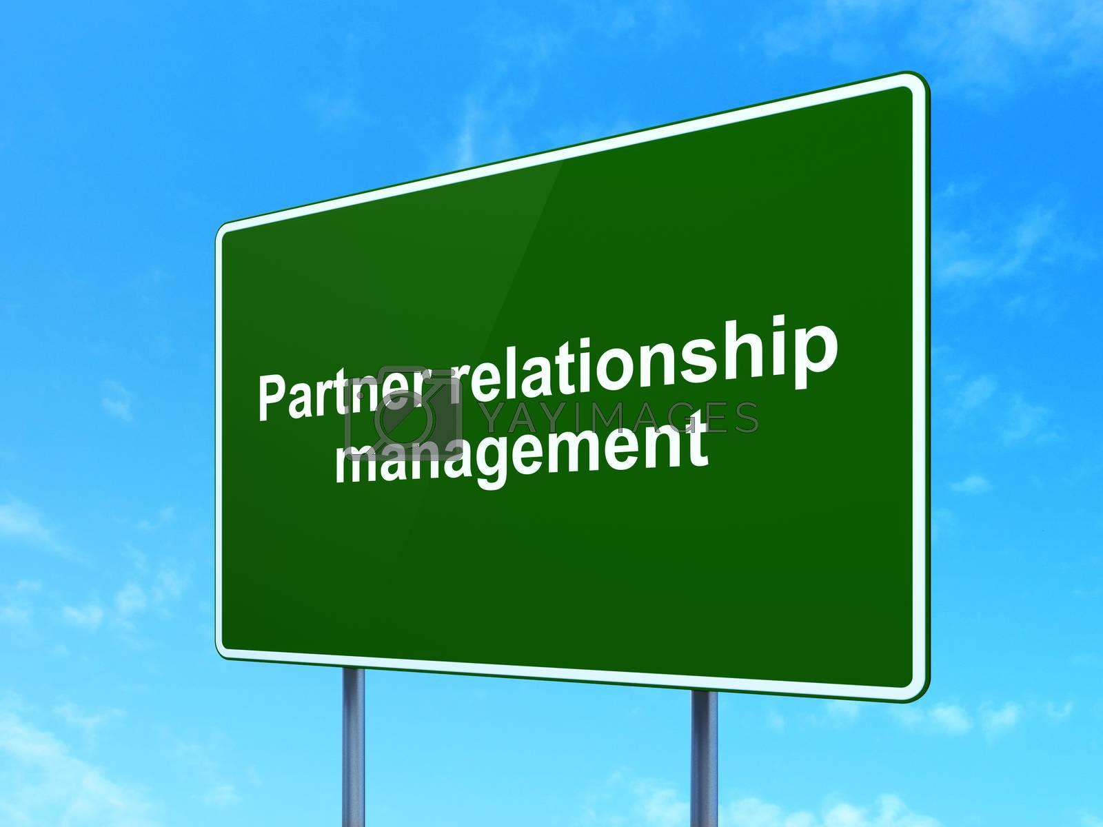 Business concept: Partner Relationship Management on road sign background by maxkabakov