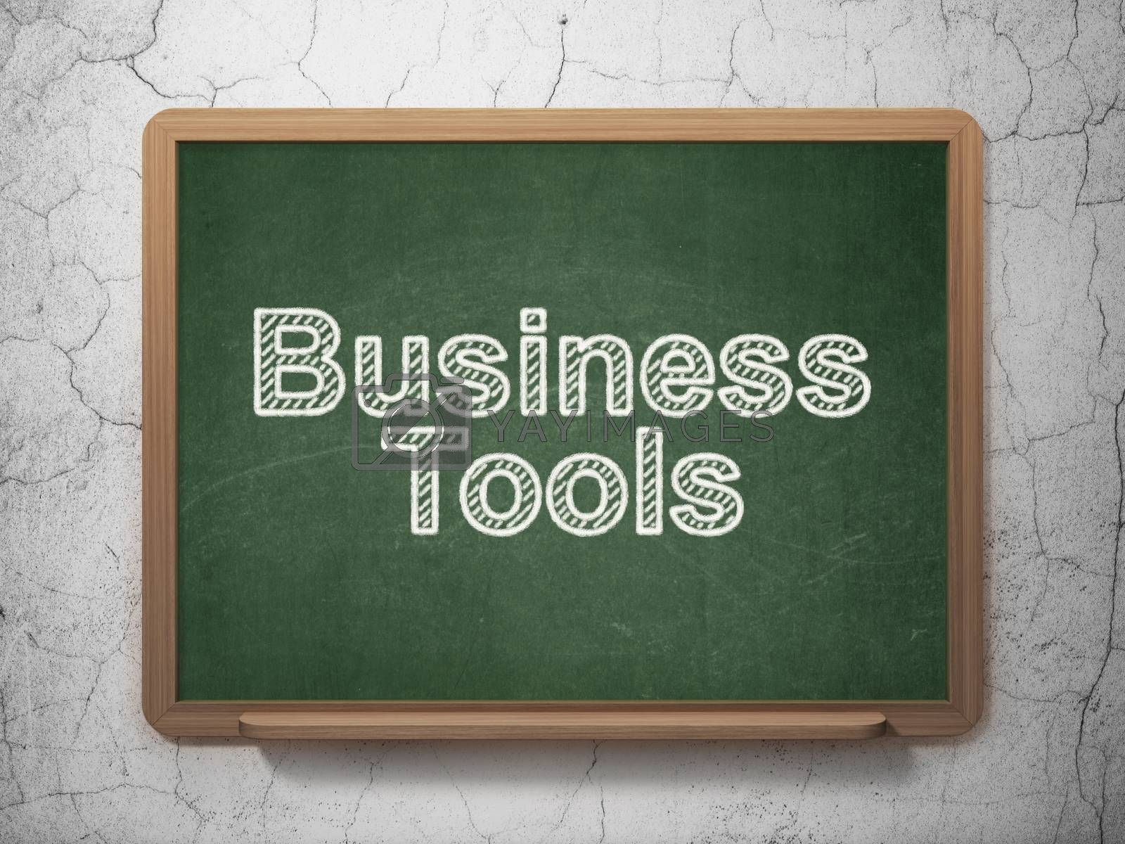 Business concept: Business Tools on chalkboard background by maxkabakov