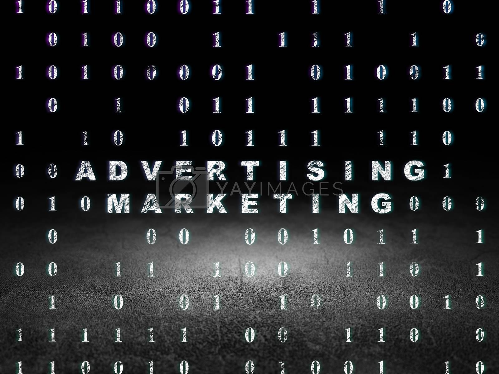 Business concept: Advertising Marketing in grunge dark room by maxkabakov