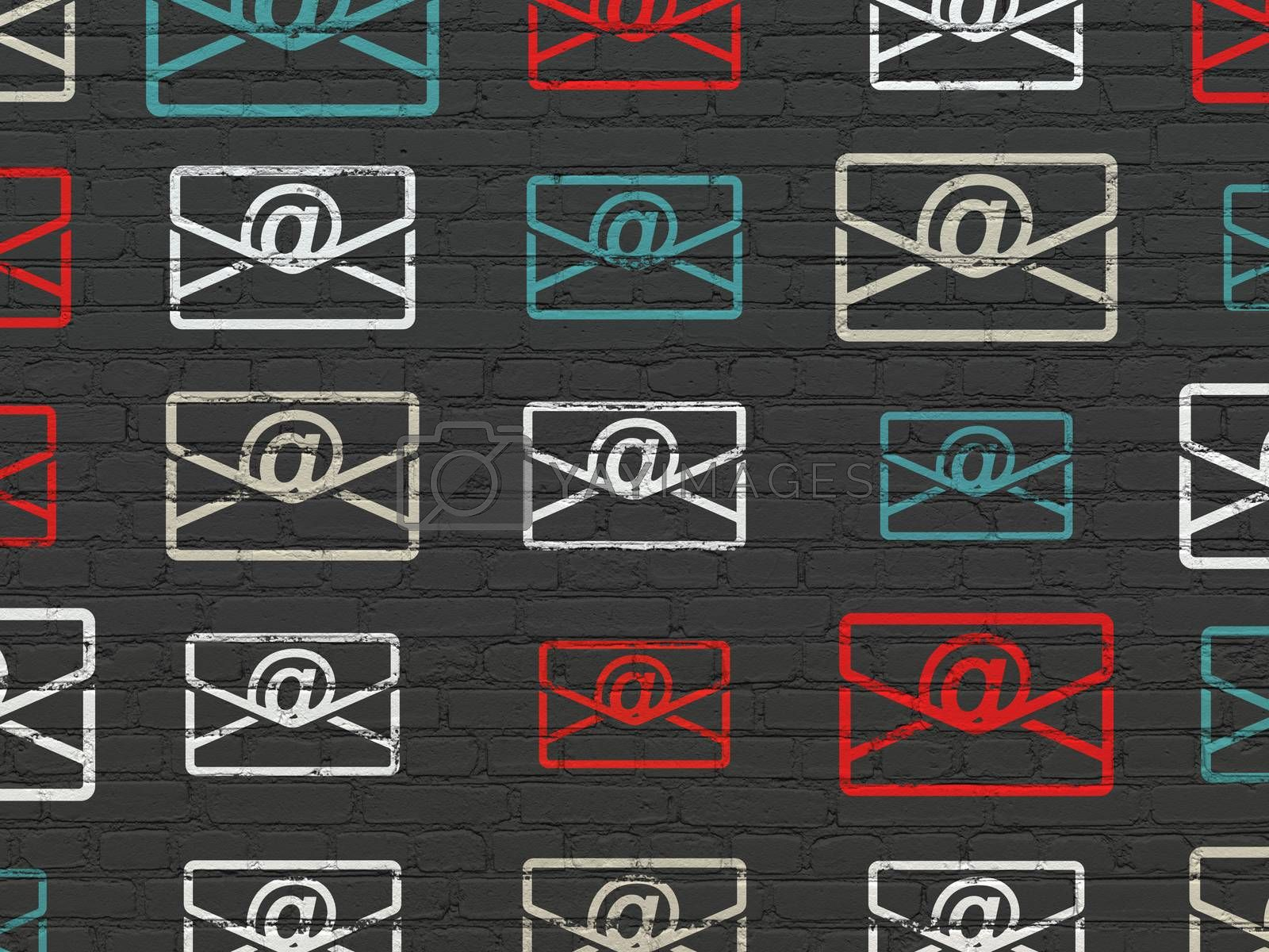 Business concept: Email icons on wall background by maxkabakov