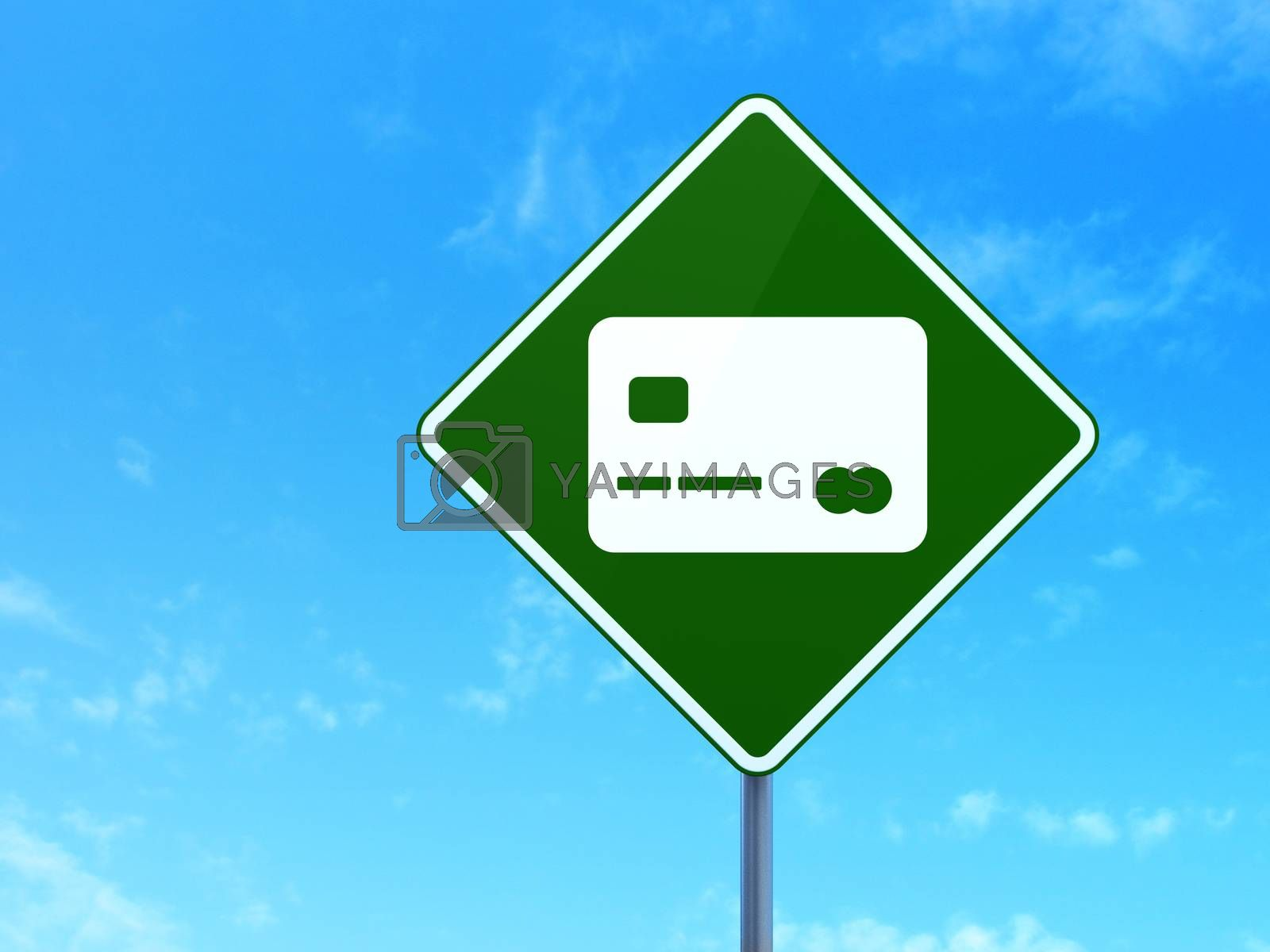 Business concept: Credit Card on road sign background by maxkabakov