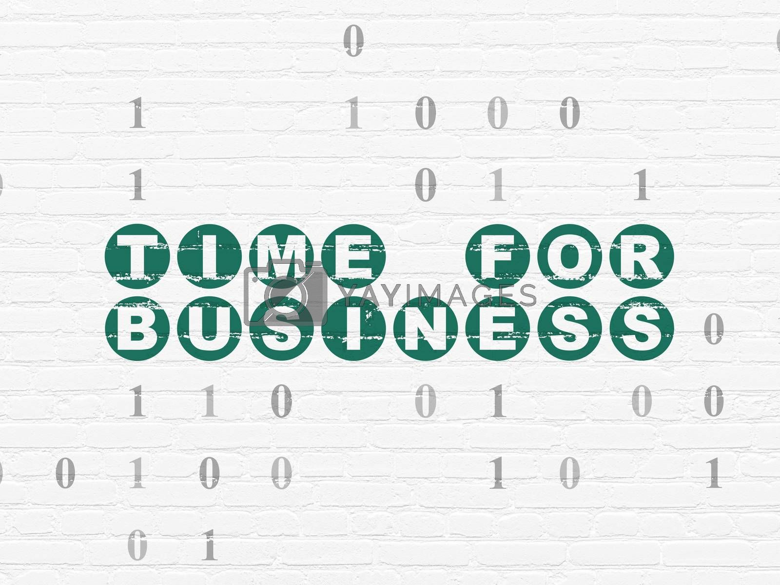 Business concept: Time for Business on wall background by maxkabakov