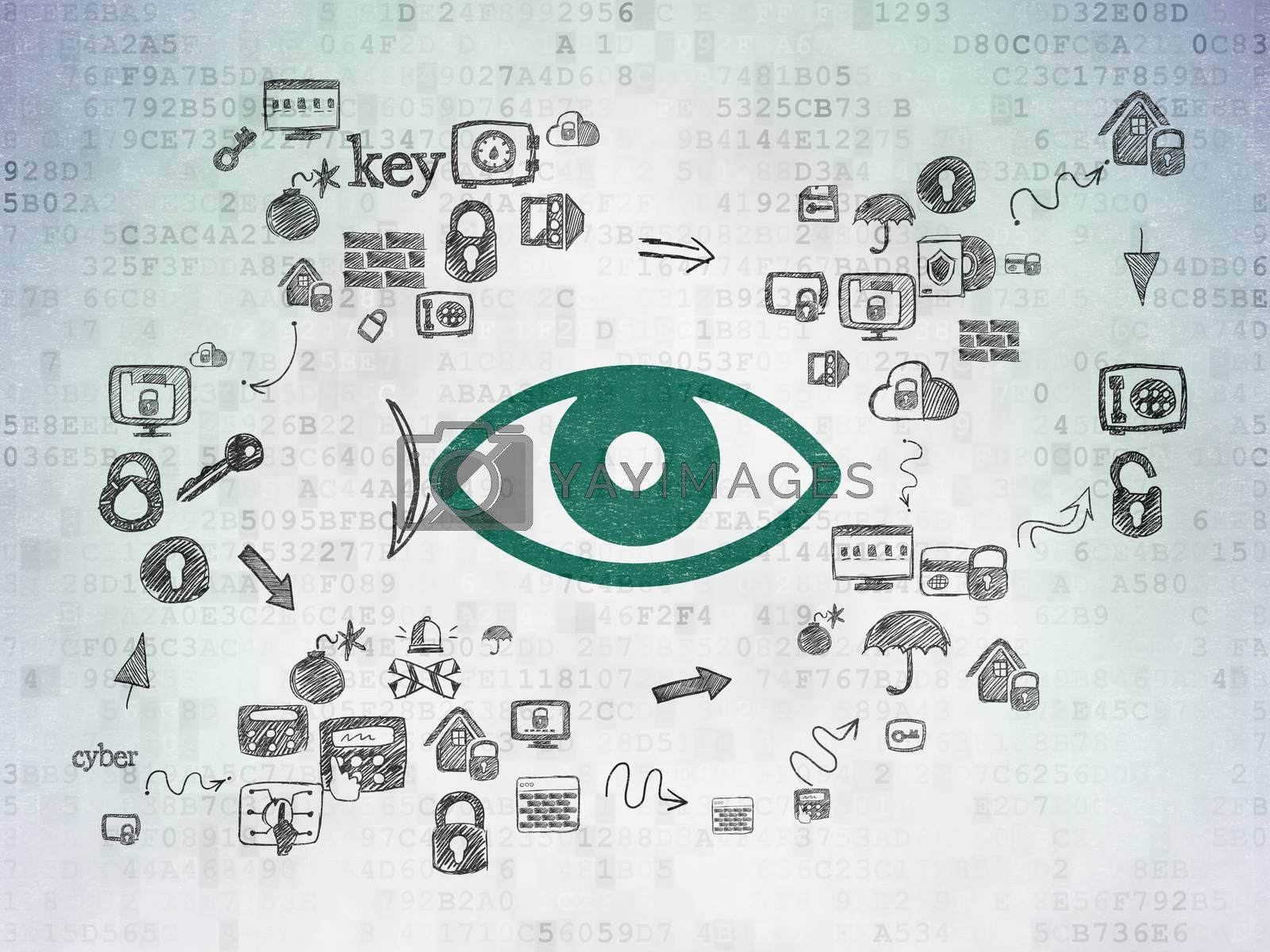 Privacy concept: Eye on Digital Paper background by maxkabakov