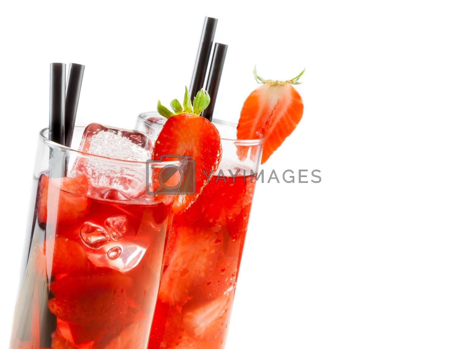 glasses of strawberry cocktail with ice isolated with strawberry on top by donfiore