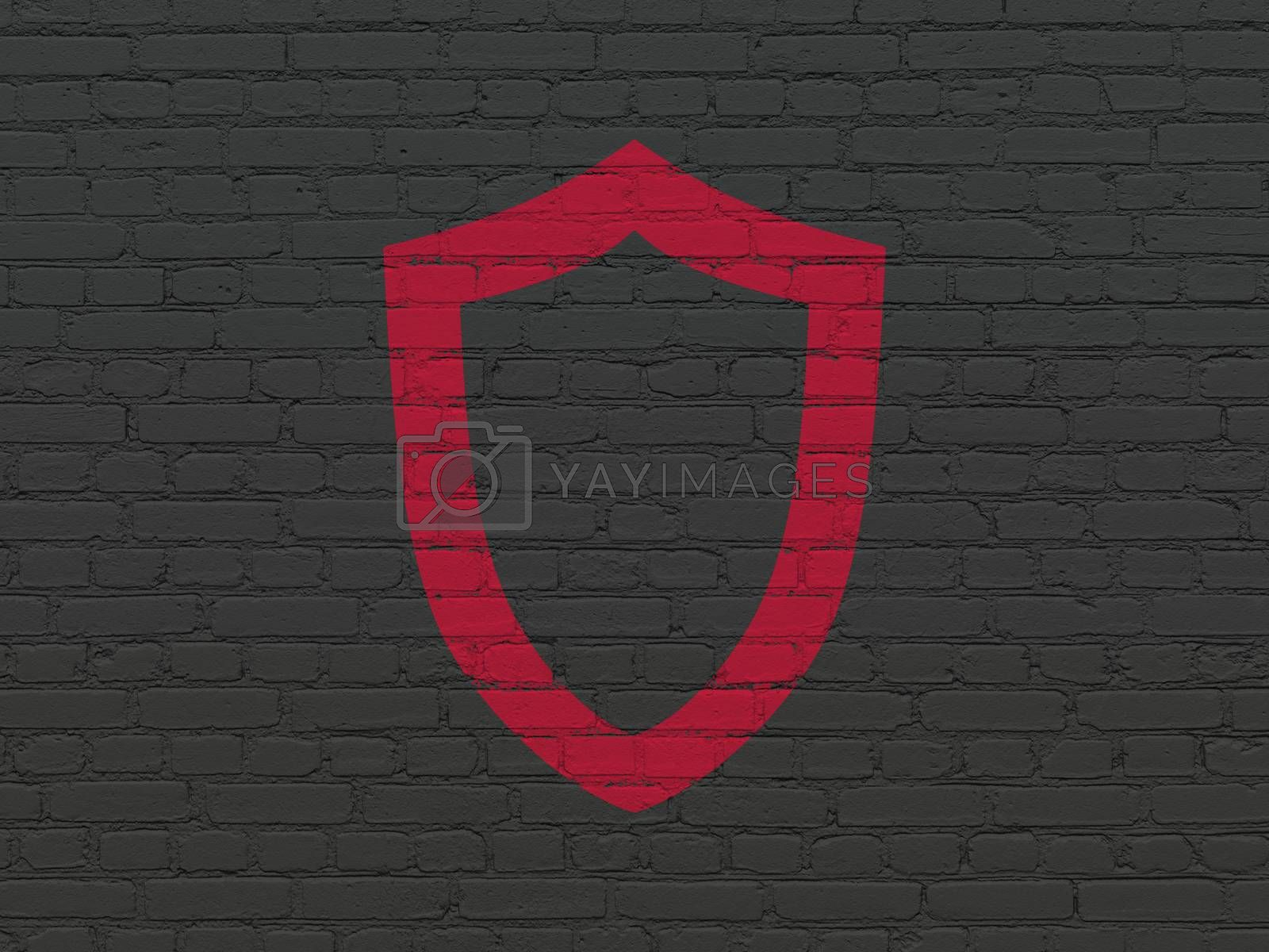 Protection concept: Contoured Shield on wall background by maxkabakov