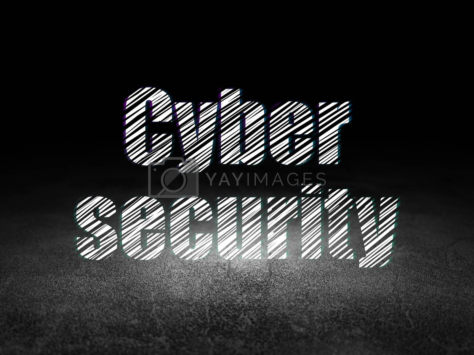 Safety concept: Cyber Security in grunge dark room by maxkabakov