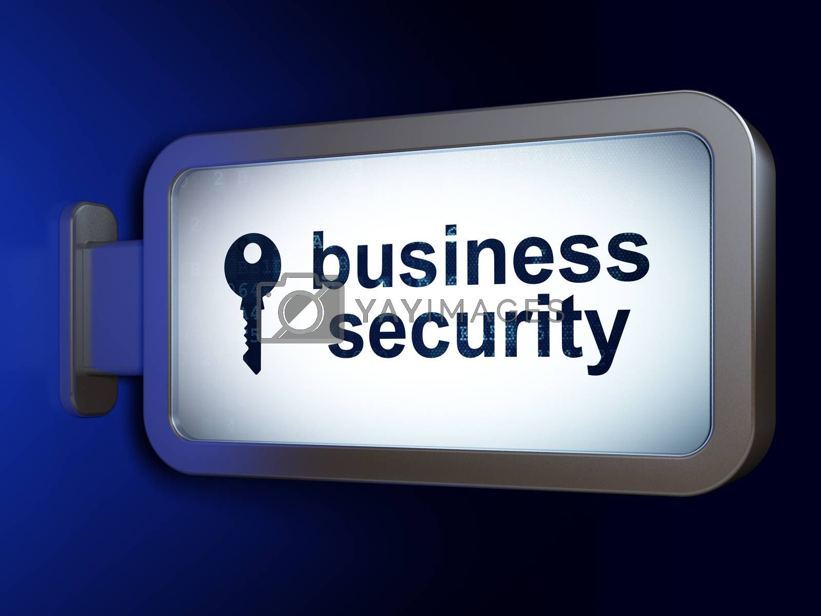 Safety concept: Business Security and Key on billboard background by maxkabakov