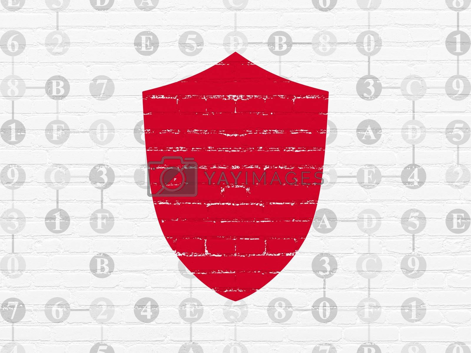 Privacy concept: Shield on wall background by maxkabakov