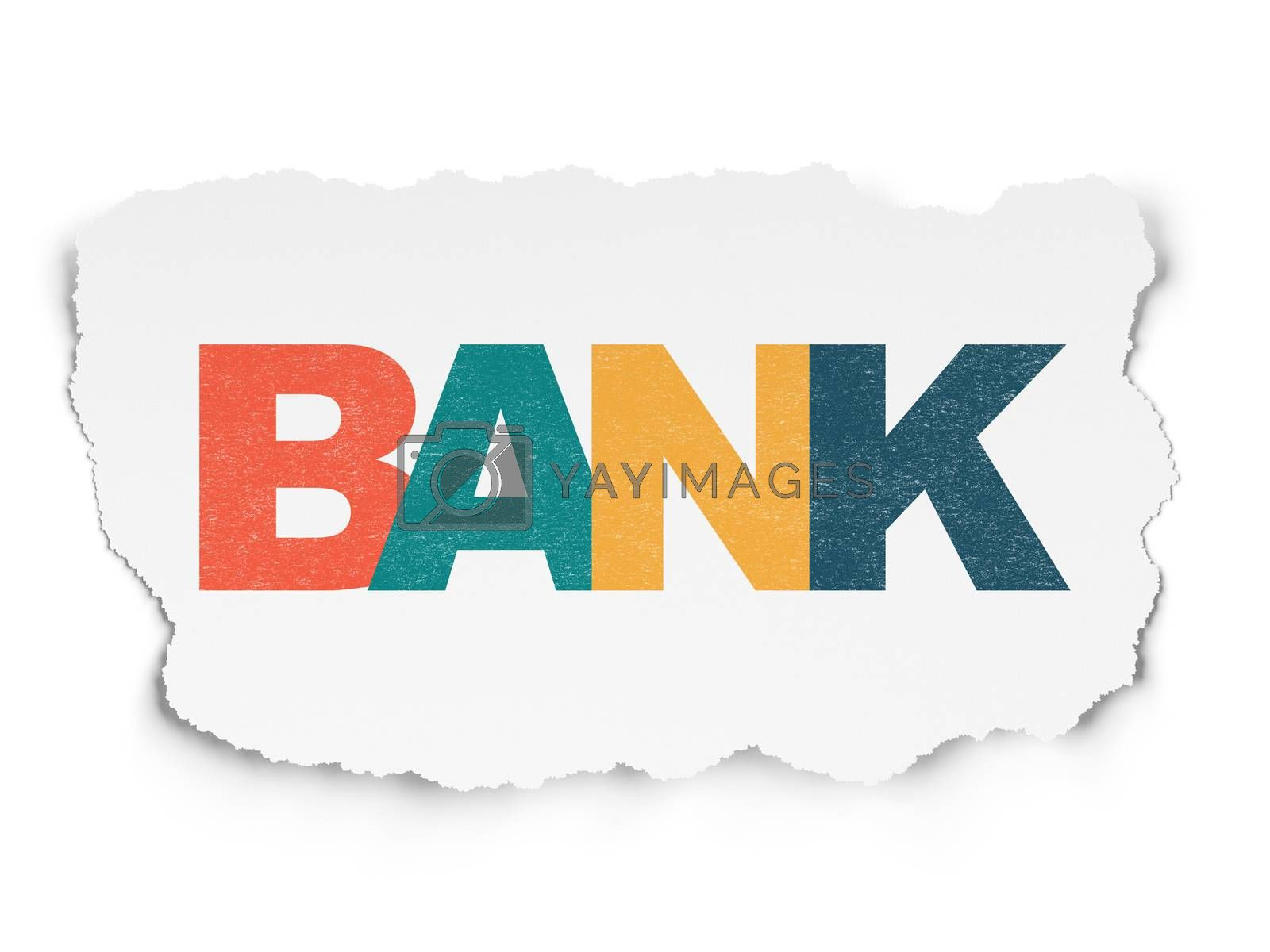 Currency concept: Bank on Torn Paper background by maxkabakov