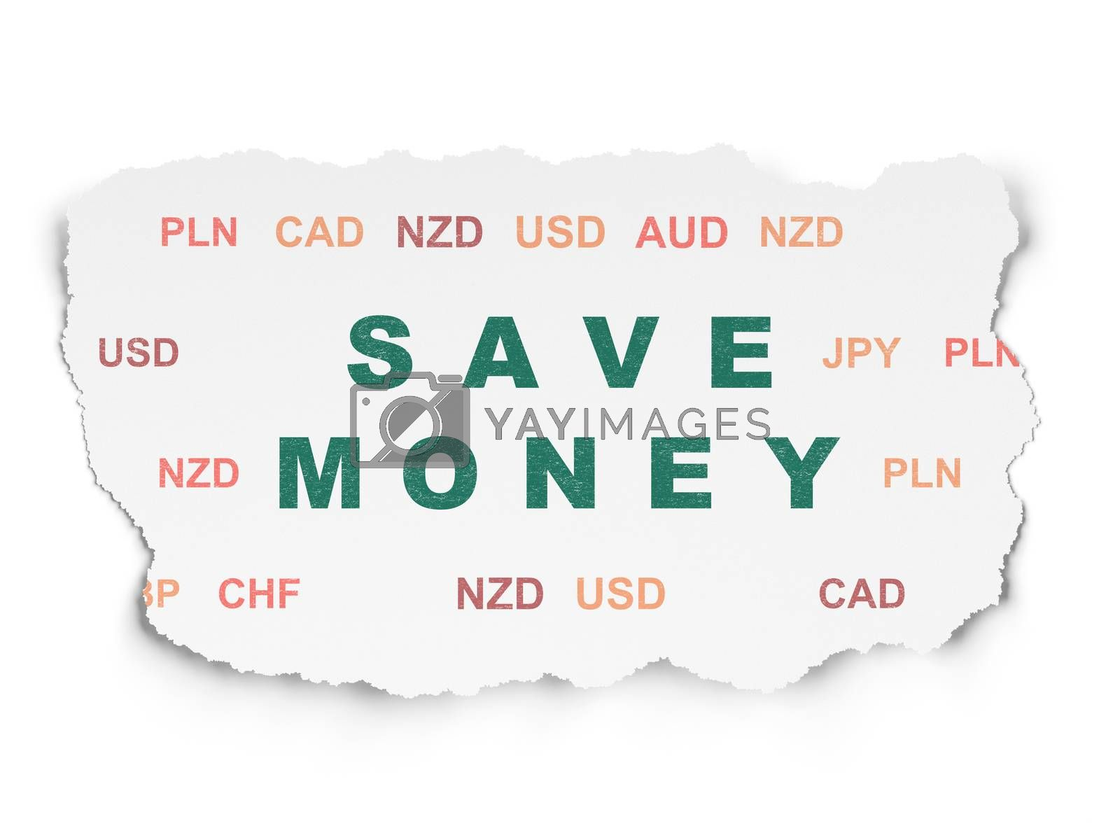 Banking concept: Save Money on Torn Paper background by maxkabakov