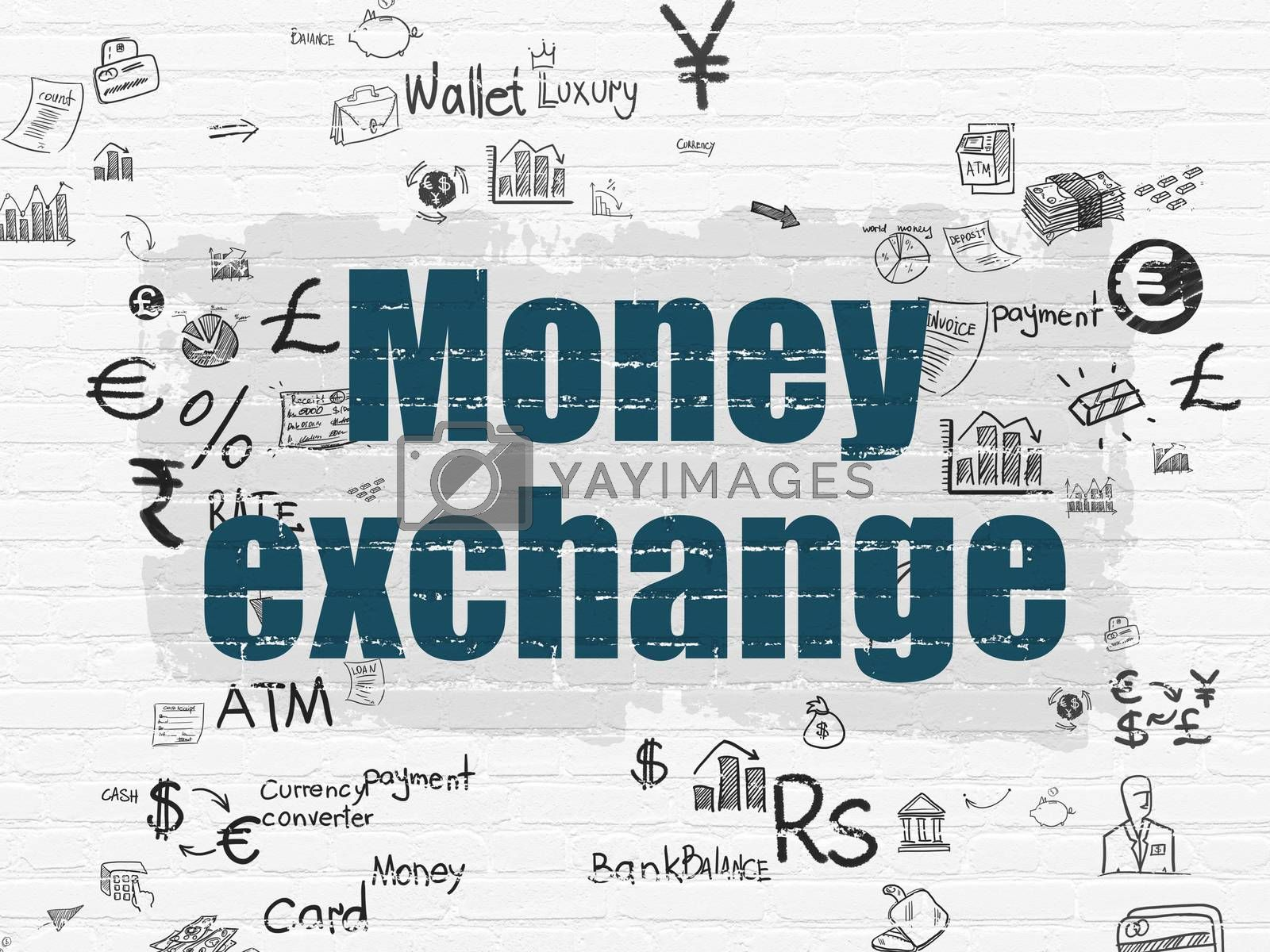 Banking concept: Money Exchange on wall background by maxkabakov