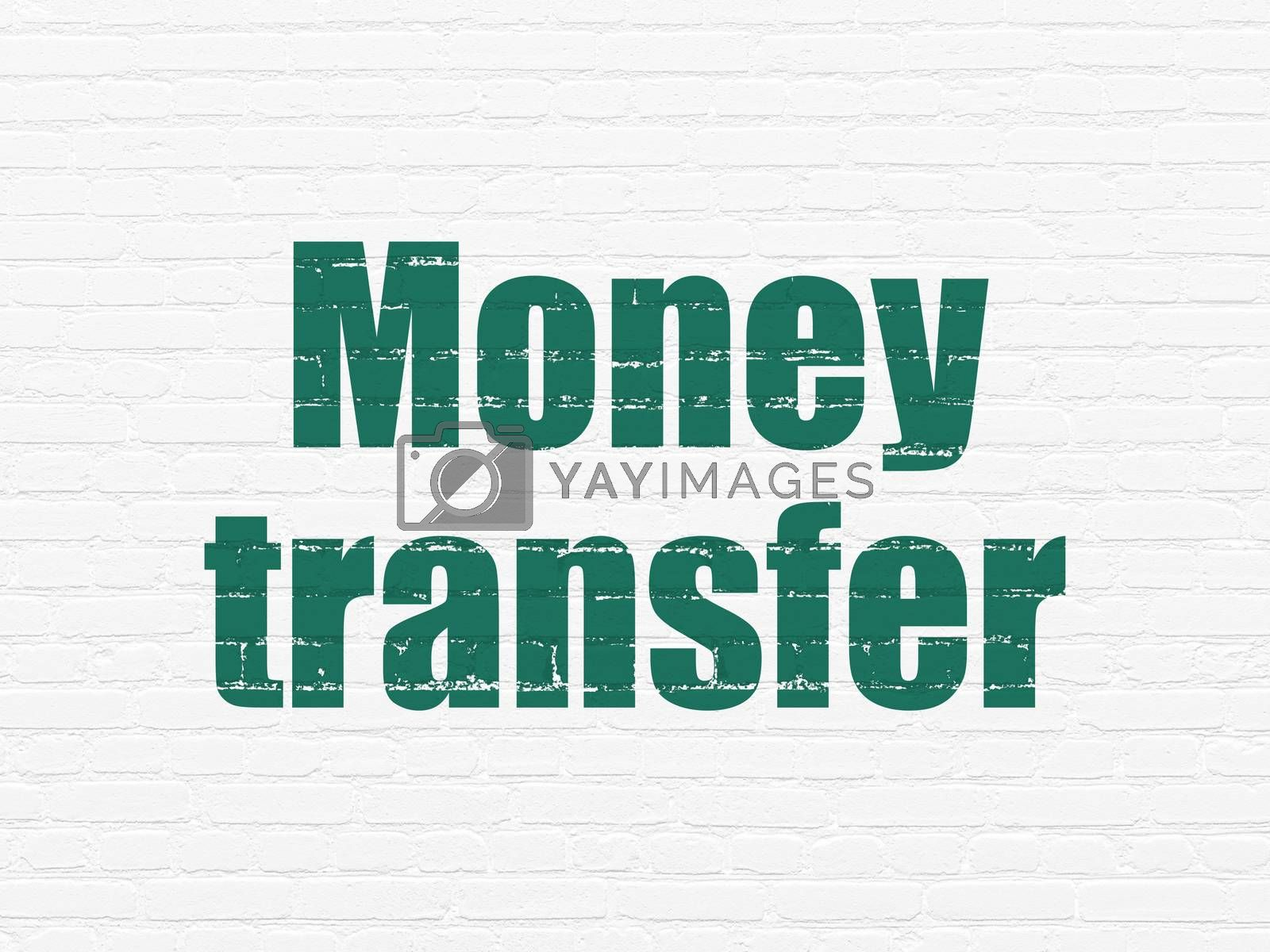 Money concept: Money Transfer on wall background by maxkabakov
