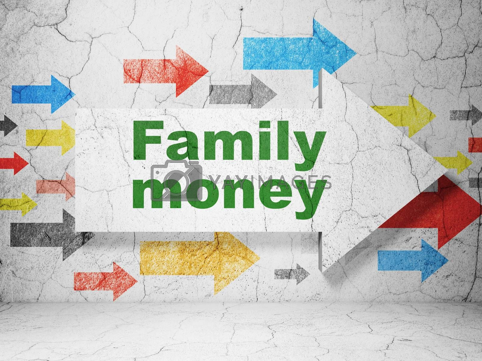 Banking concept: arrow with Family Money on grunge wall background by maxkabakov