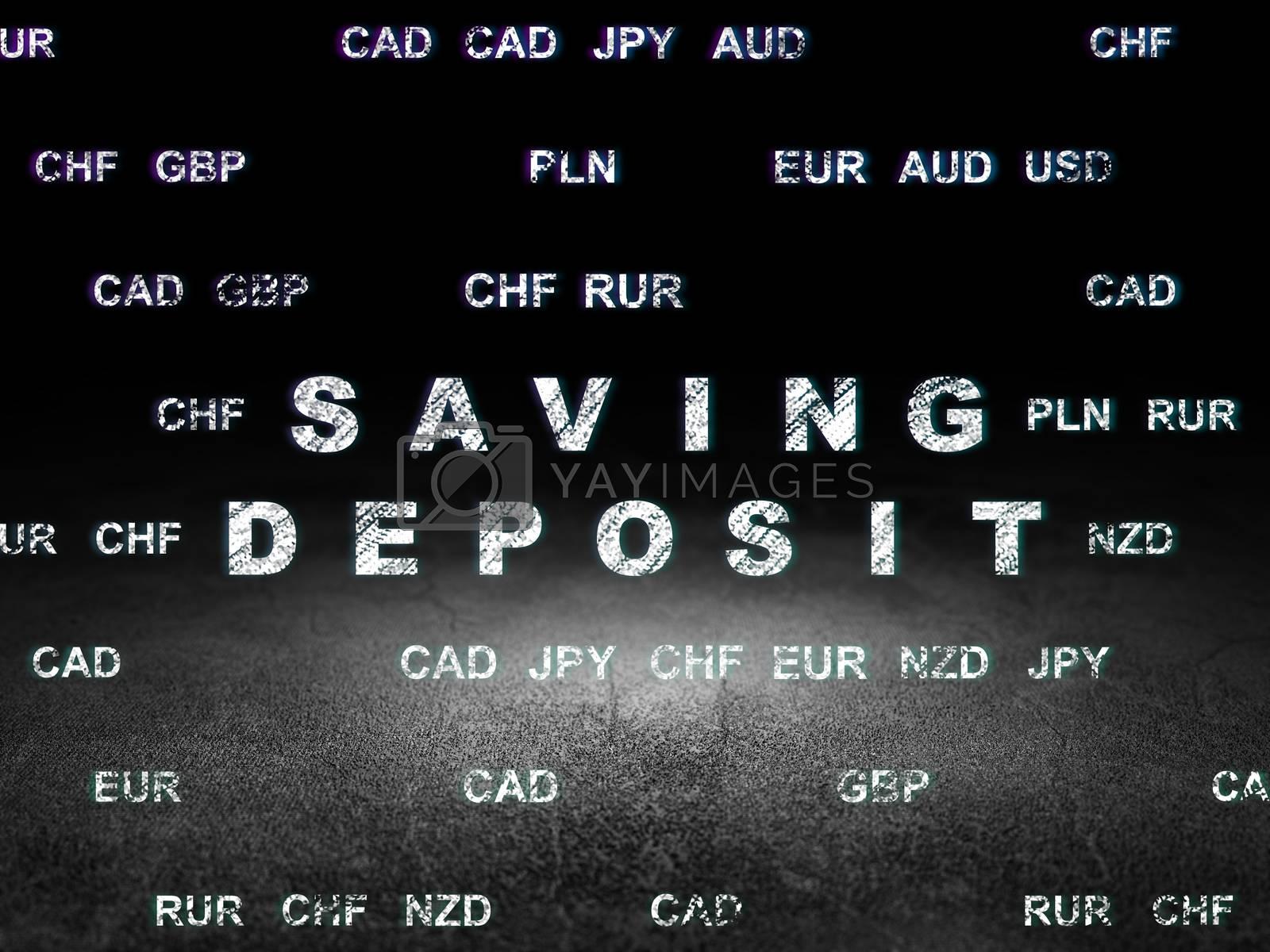 Money concept: Saving Deposit in grunge dark room by maxkabakov