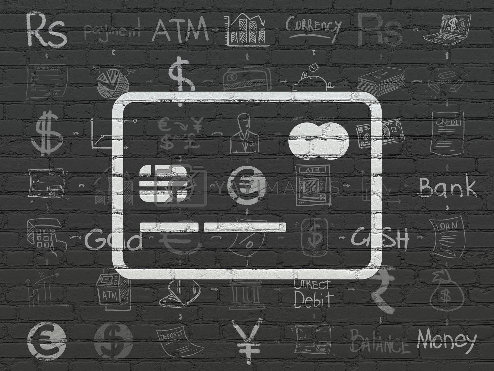 Money concept: Credit Card on wall background by maxkabakov