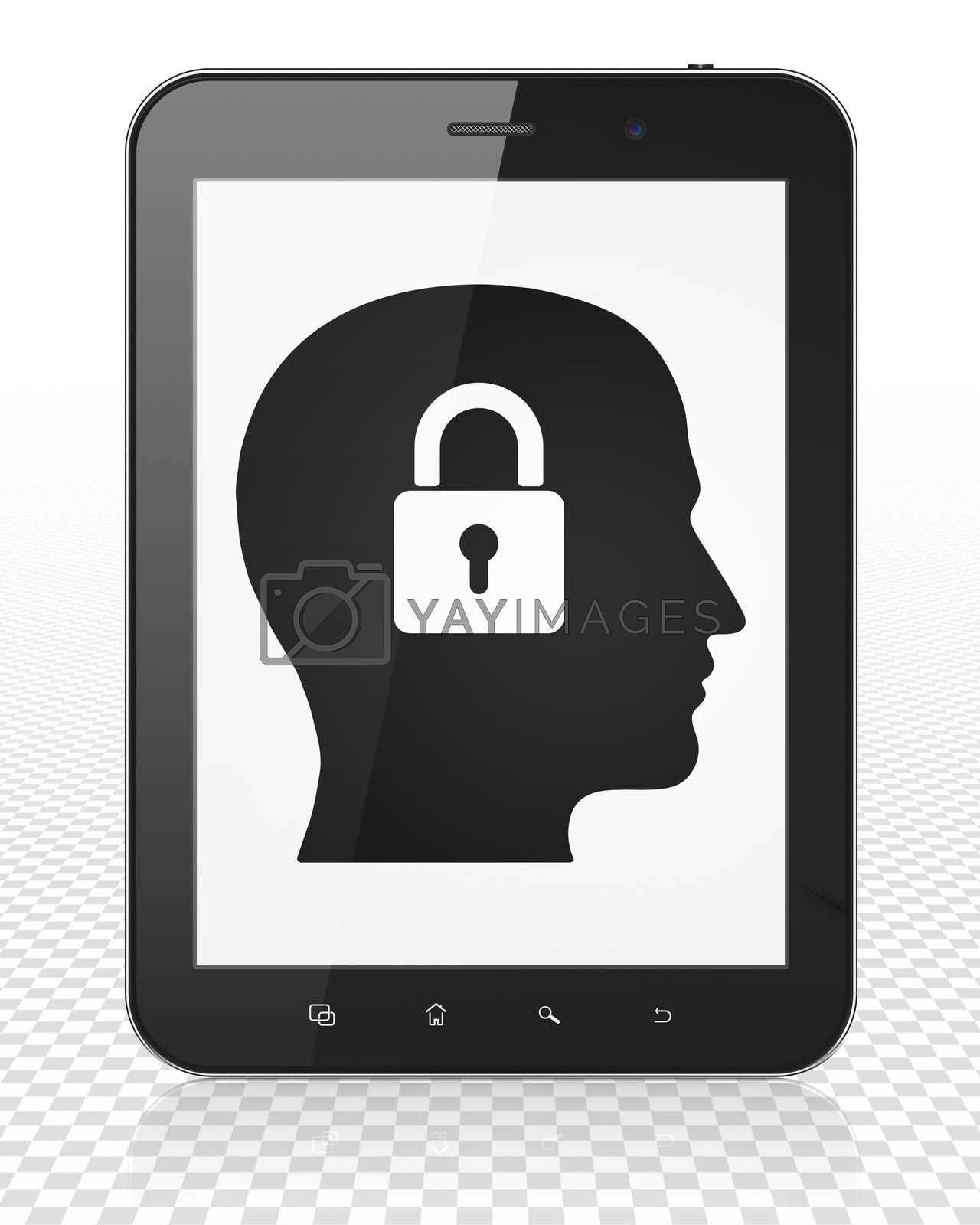 Information concept: Tablet Pc Computer with Head With Padlock on display by maxkabakov