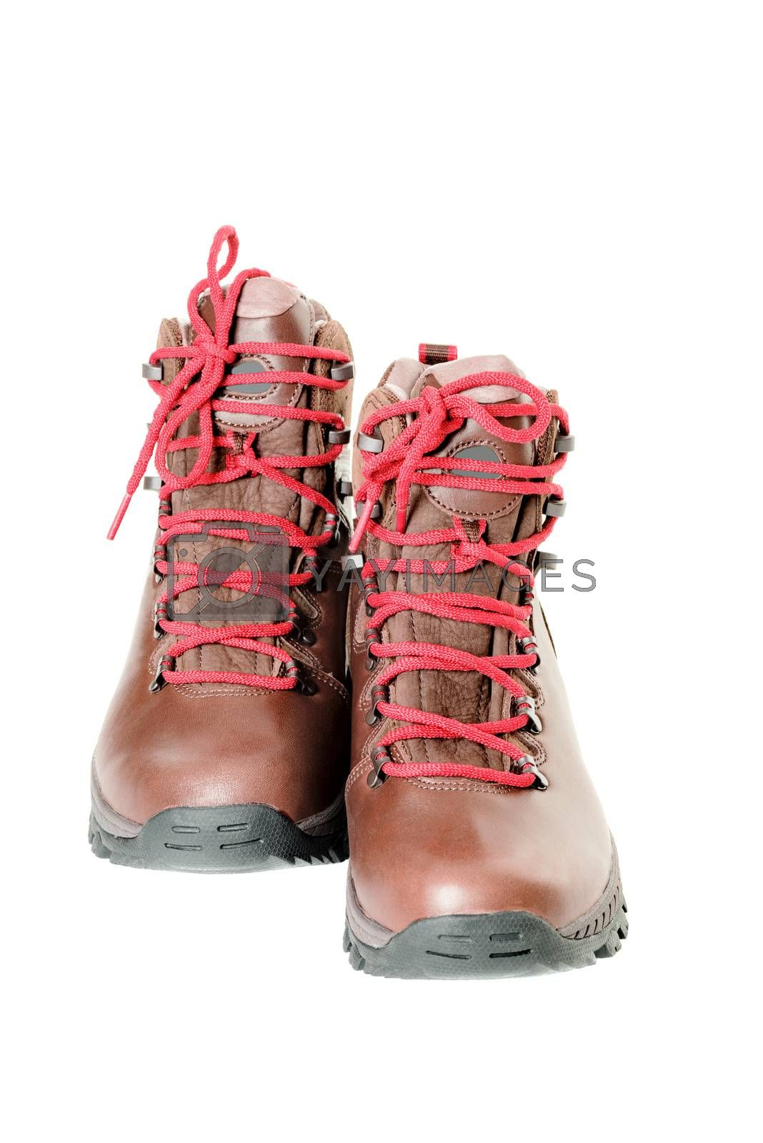 pair of leather hiking boots isolated on white front view by Nanisimova