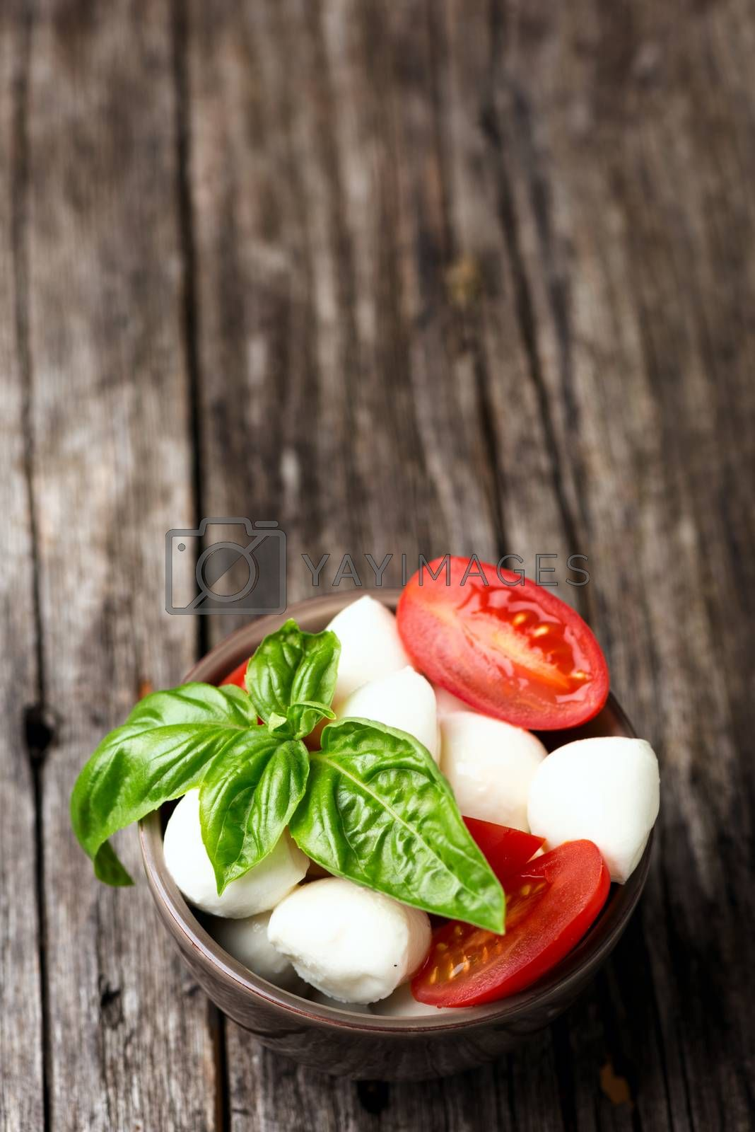 Tomato and mozzarella with basil leaves in bowl by Nanisimova