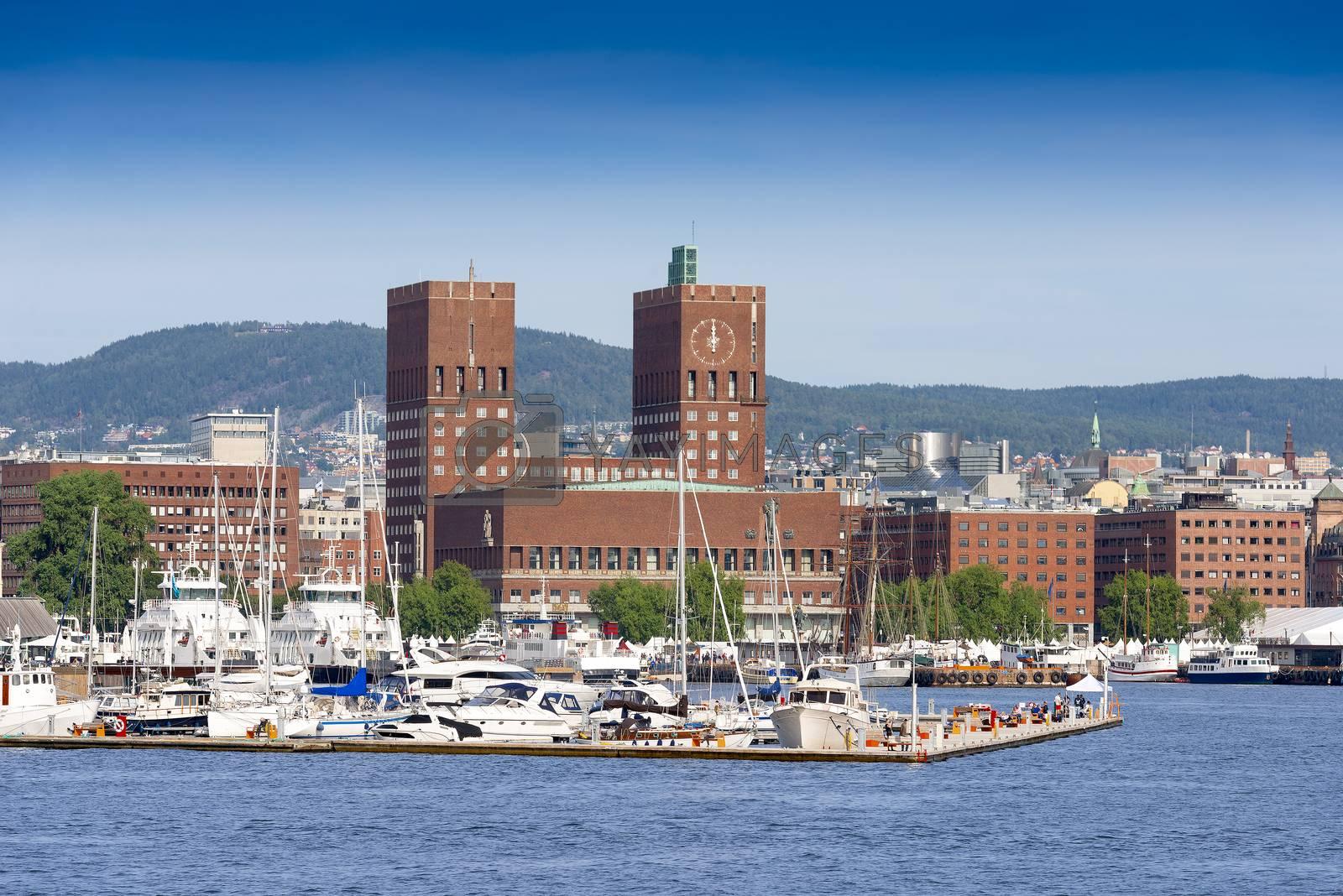 View of Oslo Radhuset Norway by Nanisimova