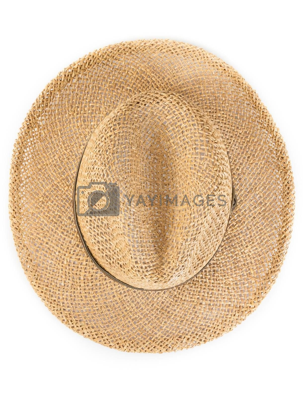 Top of view of vintage summer straw hat isolated by donfiore