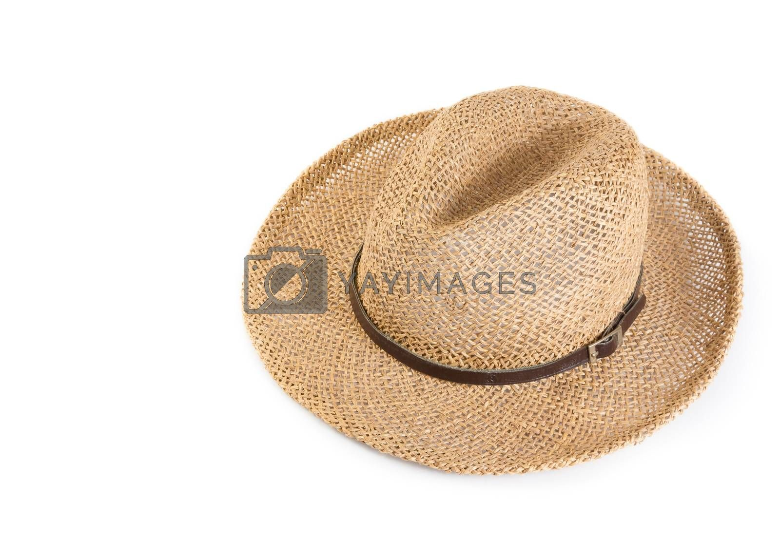 Vintage summer straw hat isolated by donfiore