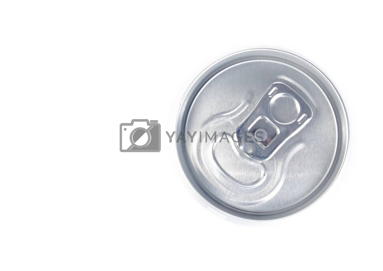 top of view of metal aluminum beverage drink can by donfiore