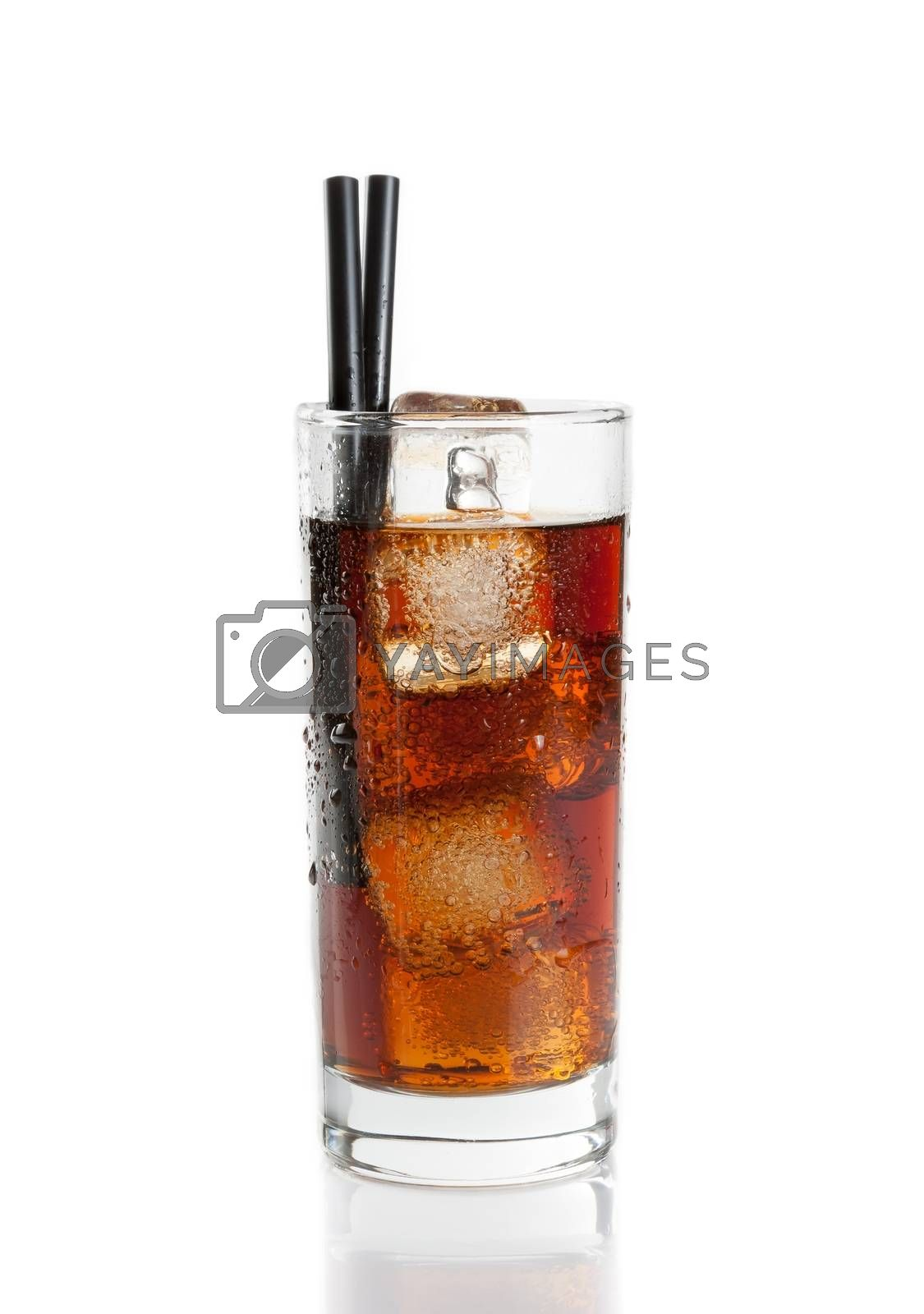fresh coke with straw isolated, summer time by donfiore