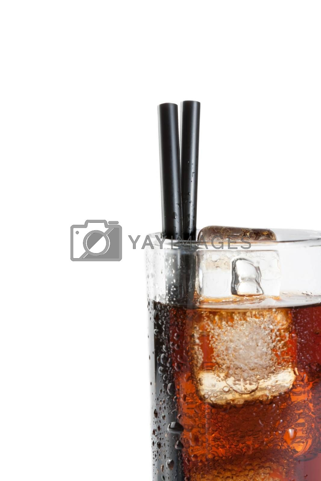detail of fresh coke with black straw, summer time by donfiore