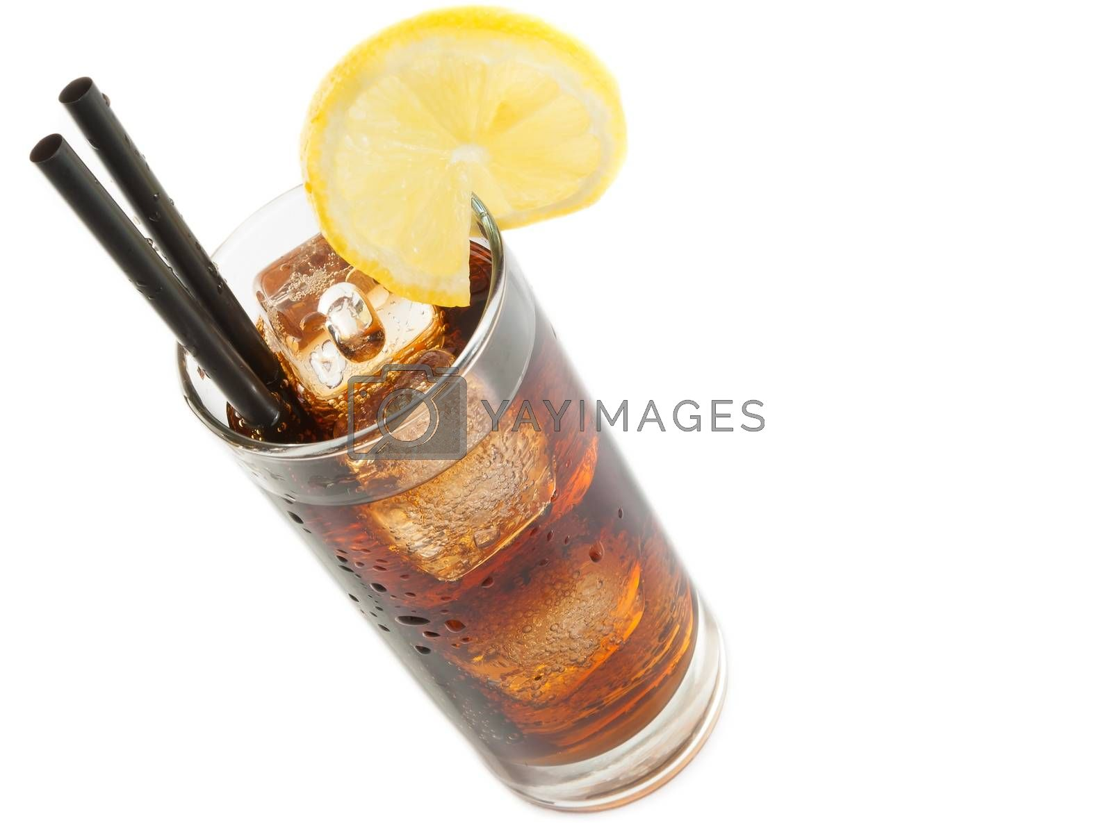 fresh coke with straw with lemon slice on top, summer time by donfiore