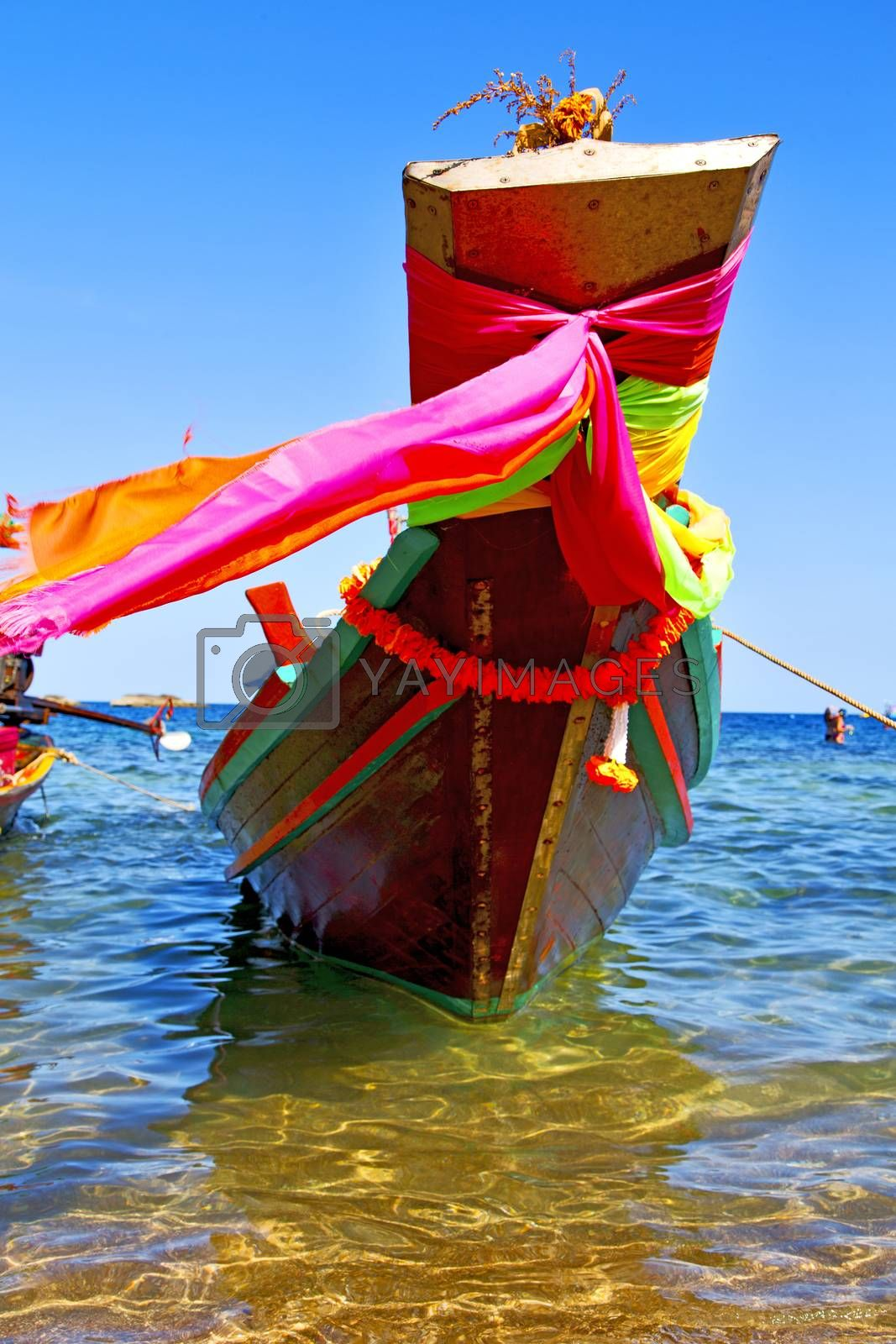 boat prow  in the  kho tao bay   south china sea  by lkpro