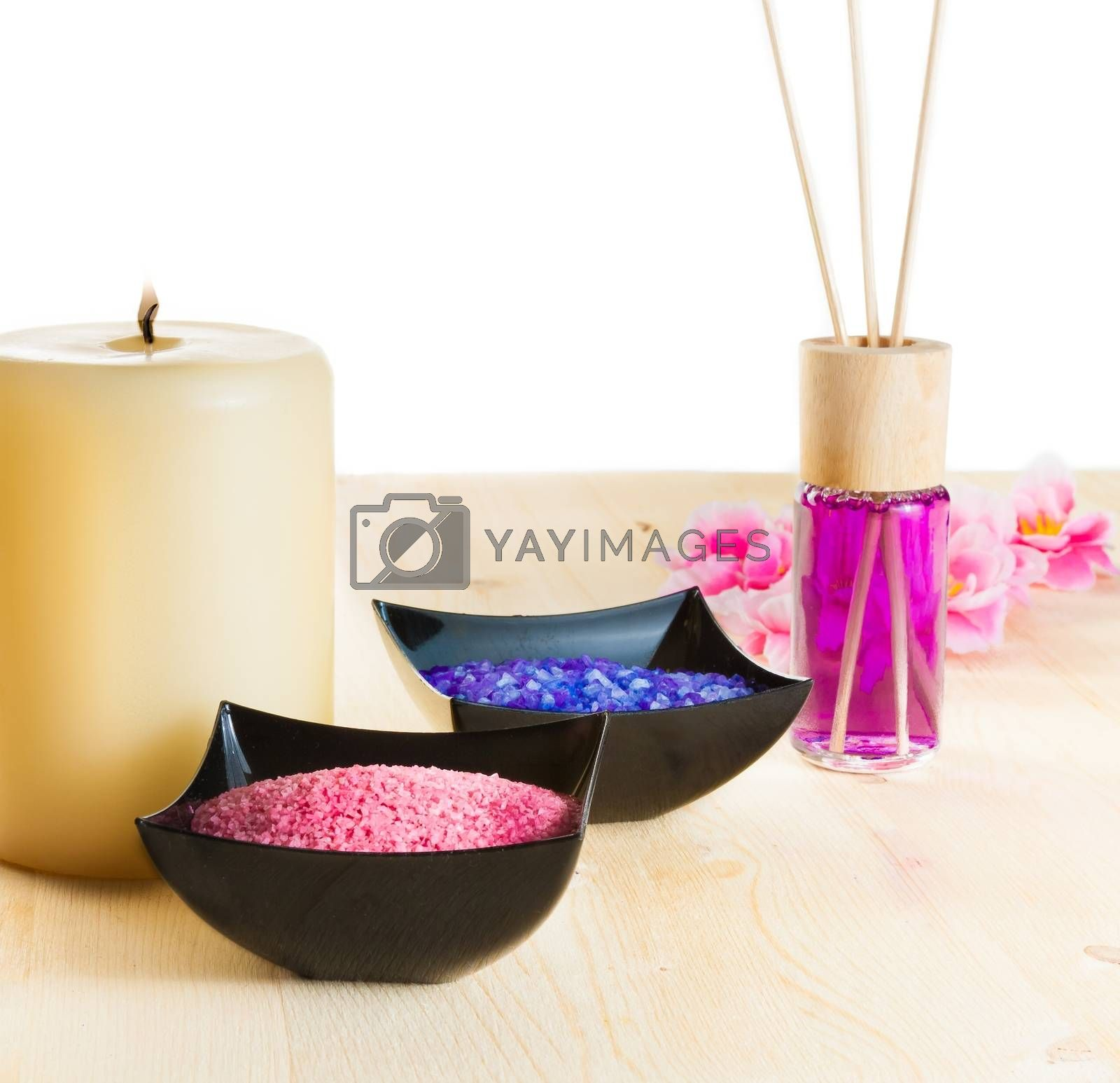 Spa massage border background with perfume diffuser and sea salt by donfiore
