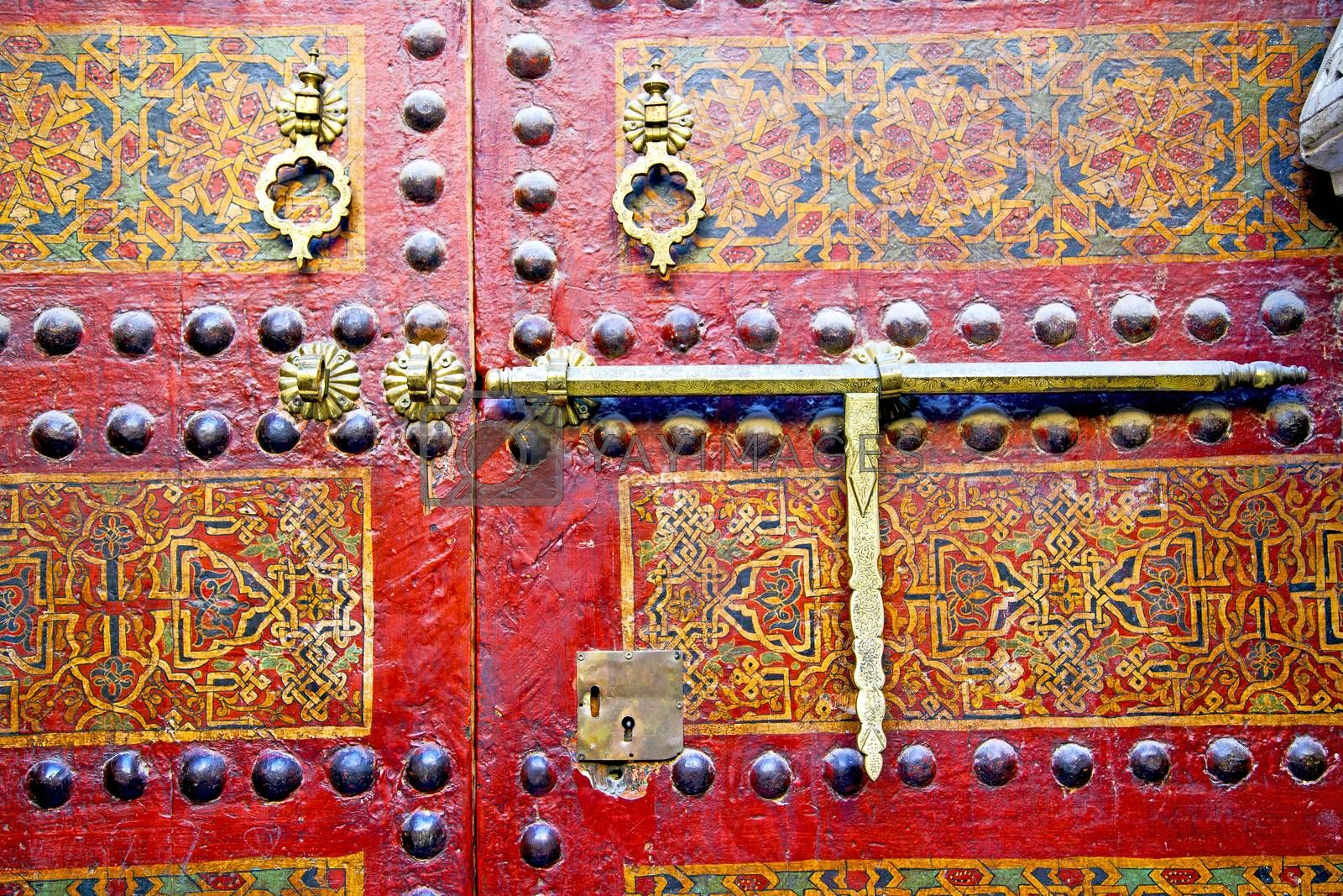 metal rusty  brown    morocco in africa   and safe padlock  by lkpro