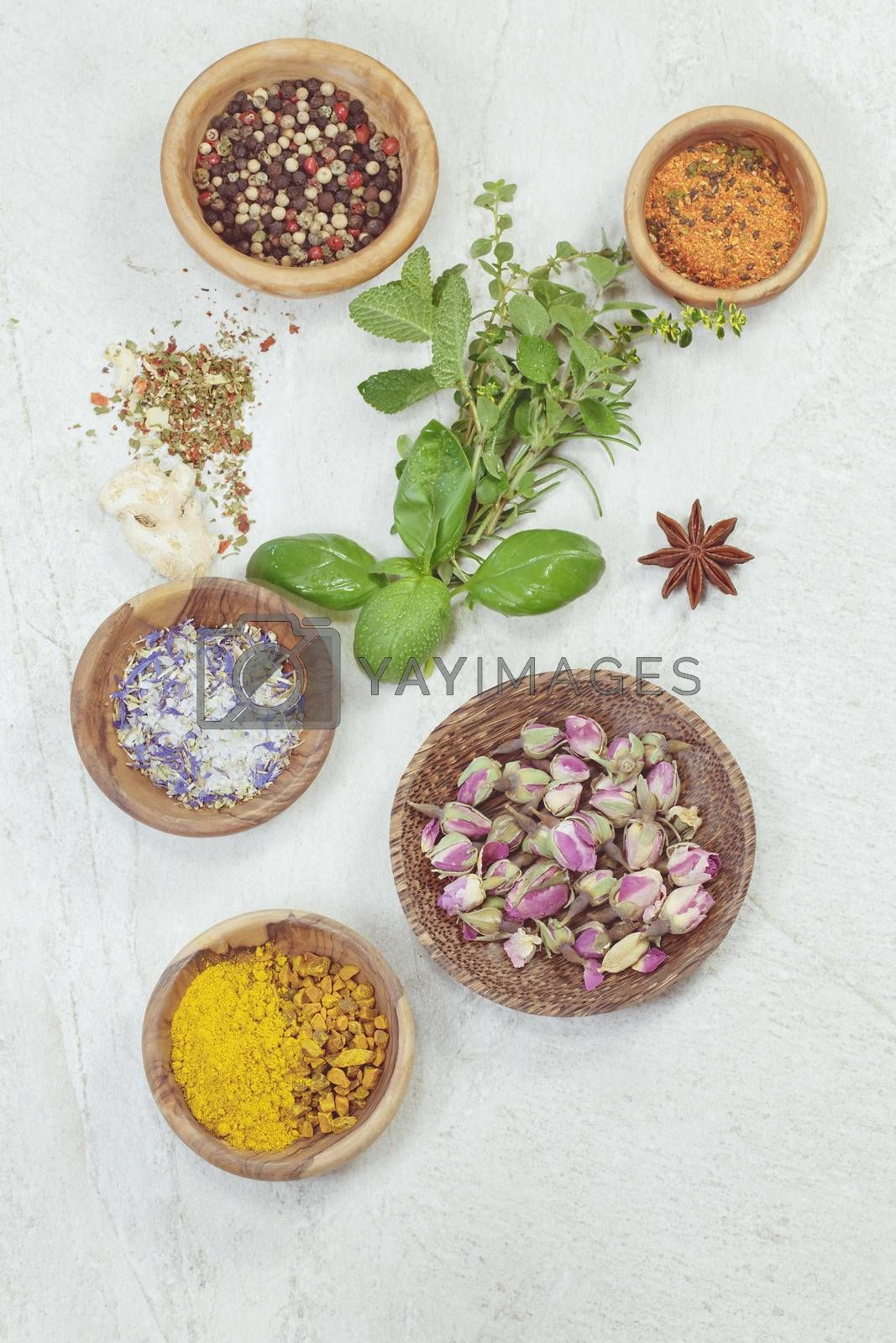 Assortment of spices and herbs by Slast20