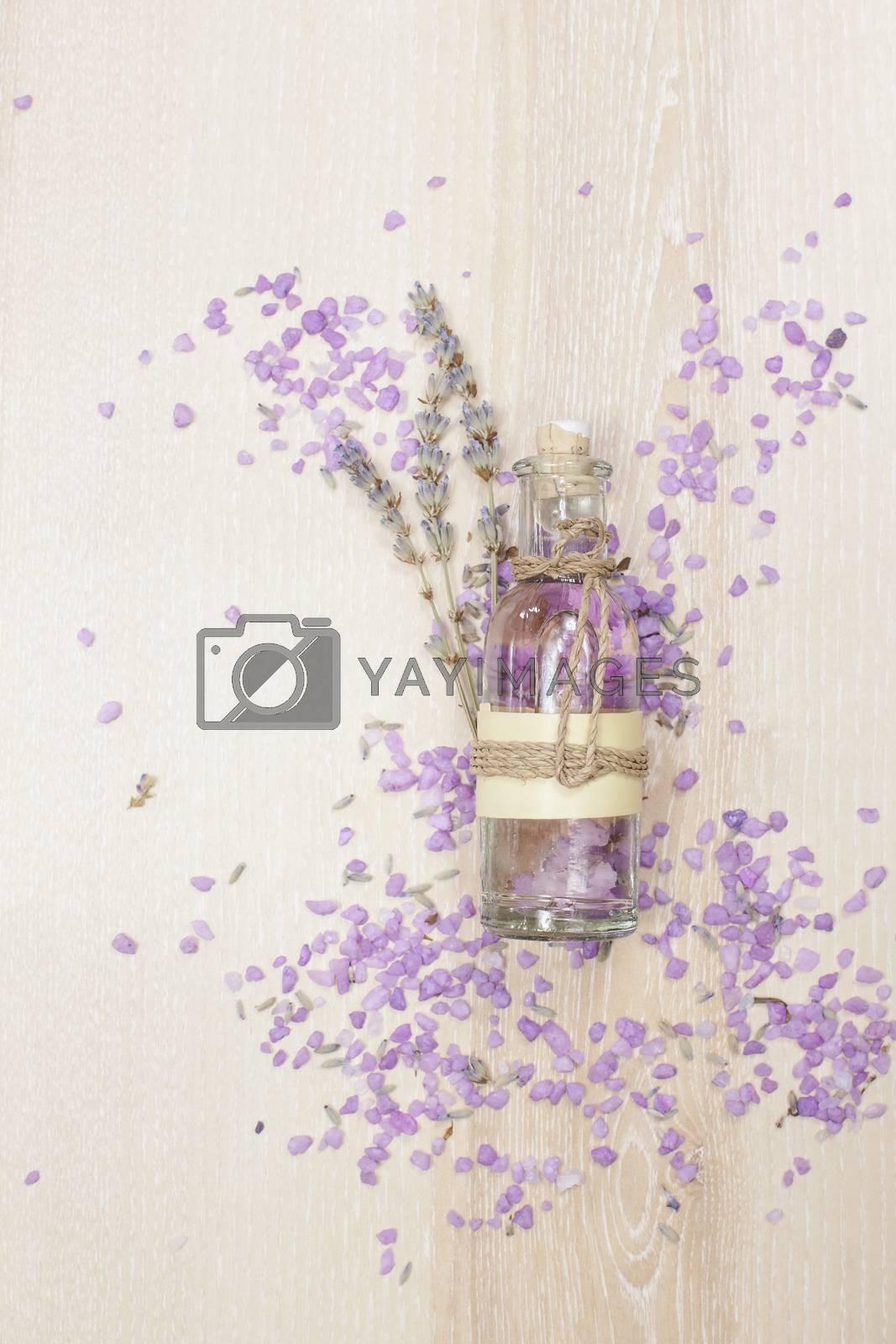 Lavender oil in a glass bottle by Slast20