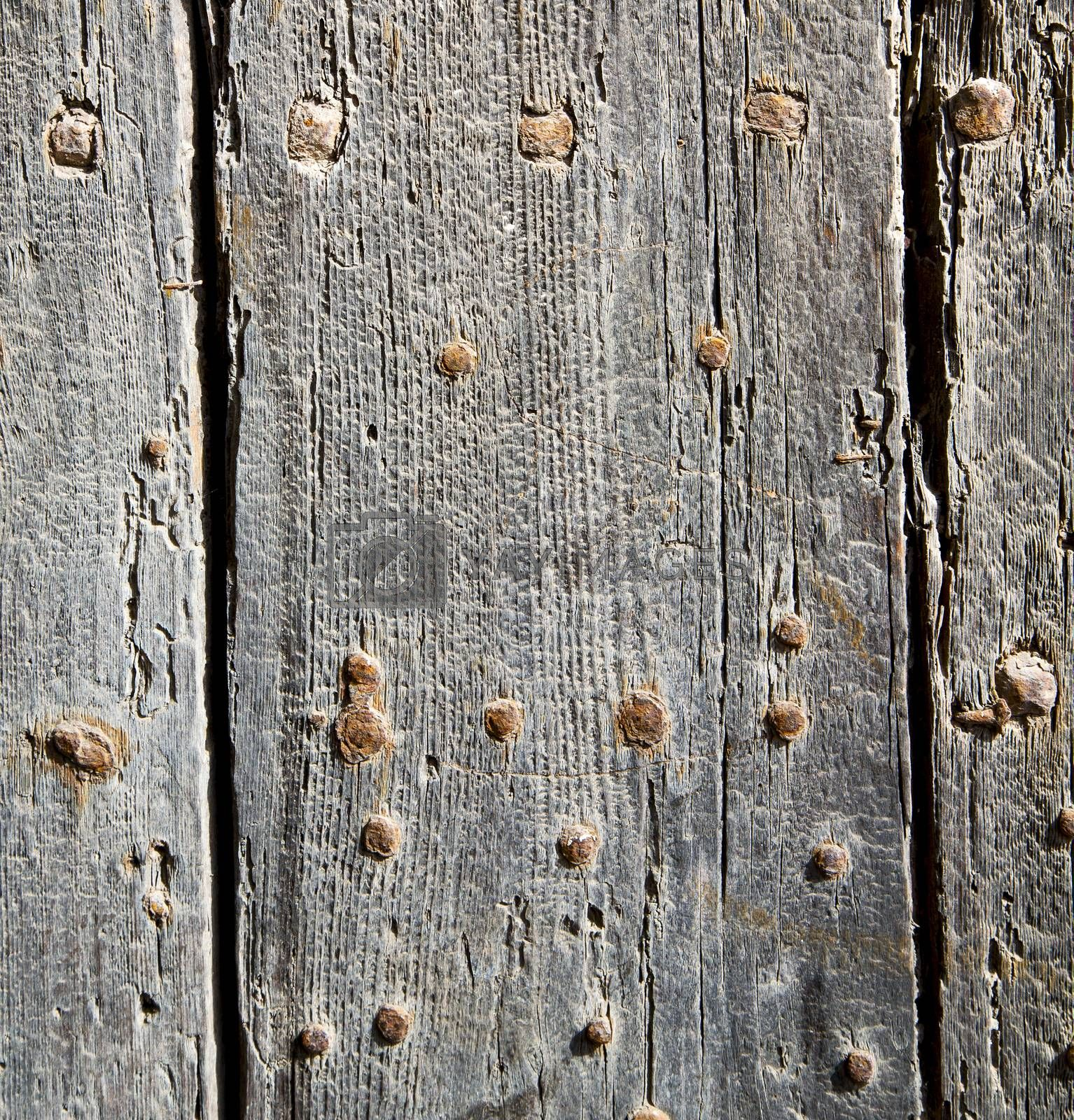 nail dirty stripped paint in the brown wood door and rusty yello by lkpro