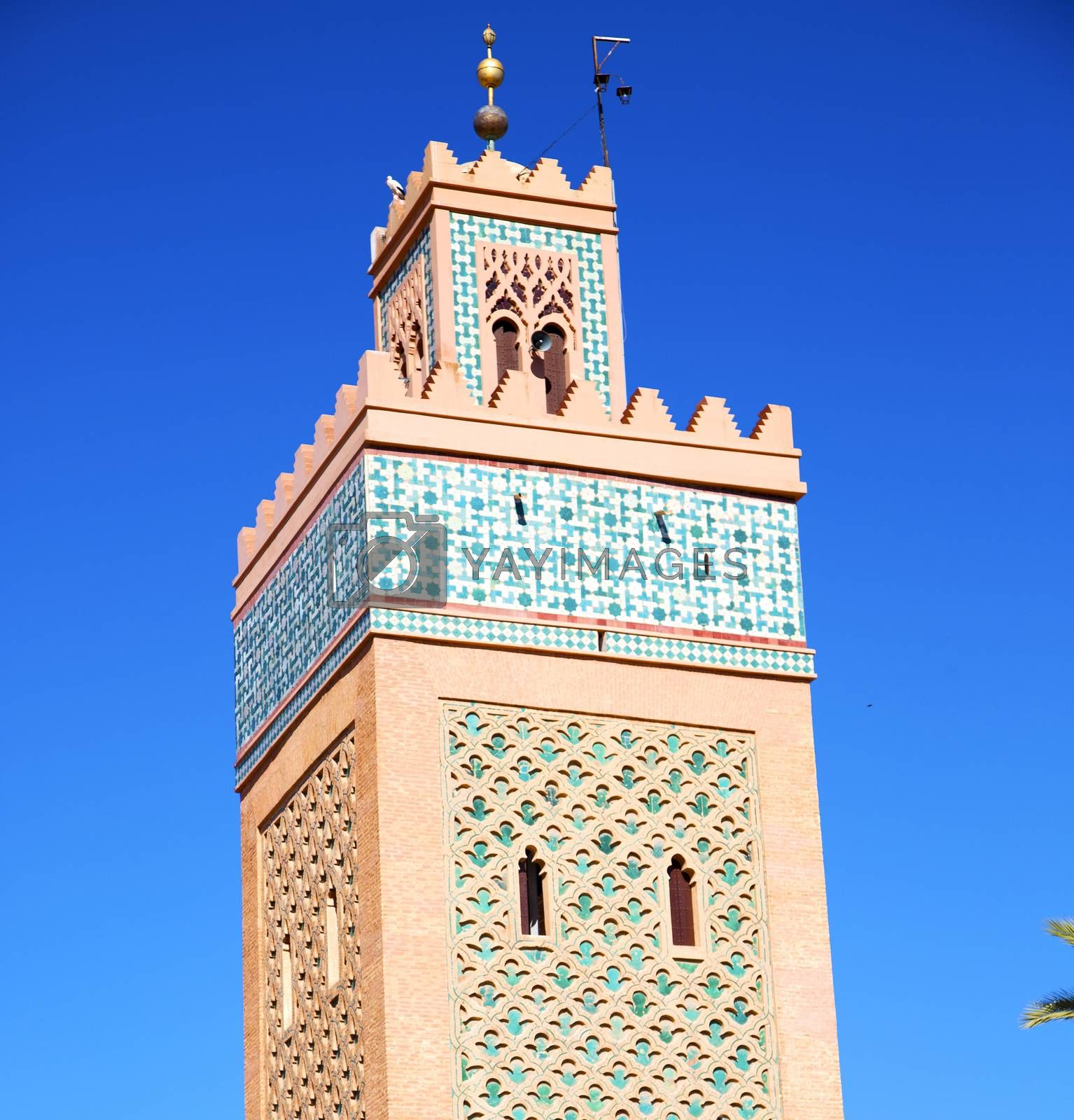 in maroc africa minaret and the blue    sky by lkpro