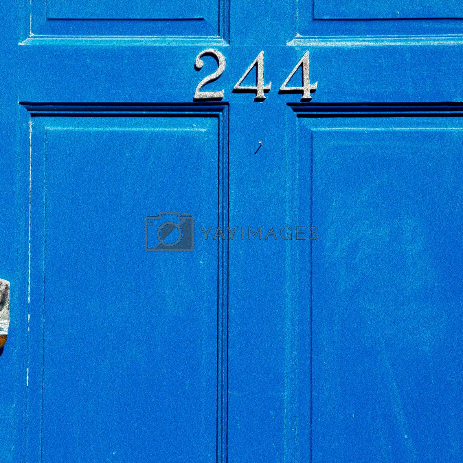 blue handle in london antique brown door  rusty  brass nail and by lkpro