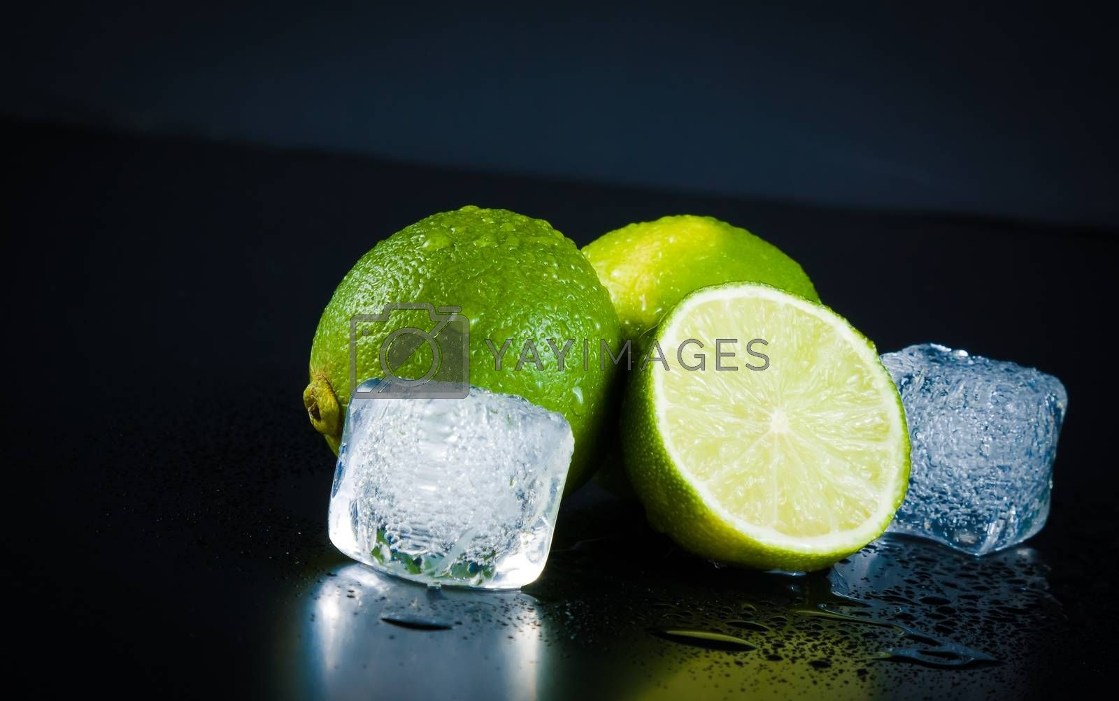 Lime with ice cubes with space for text by donfiore