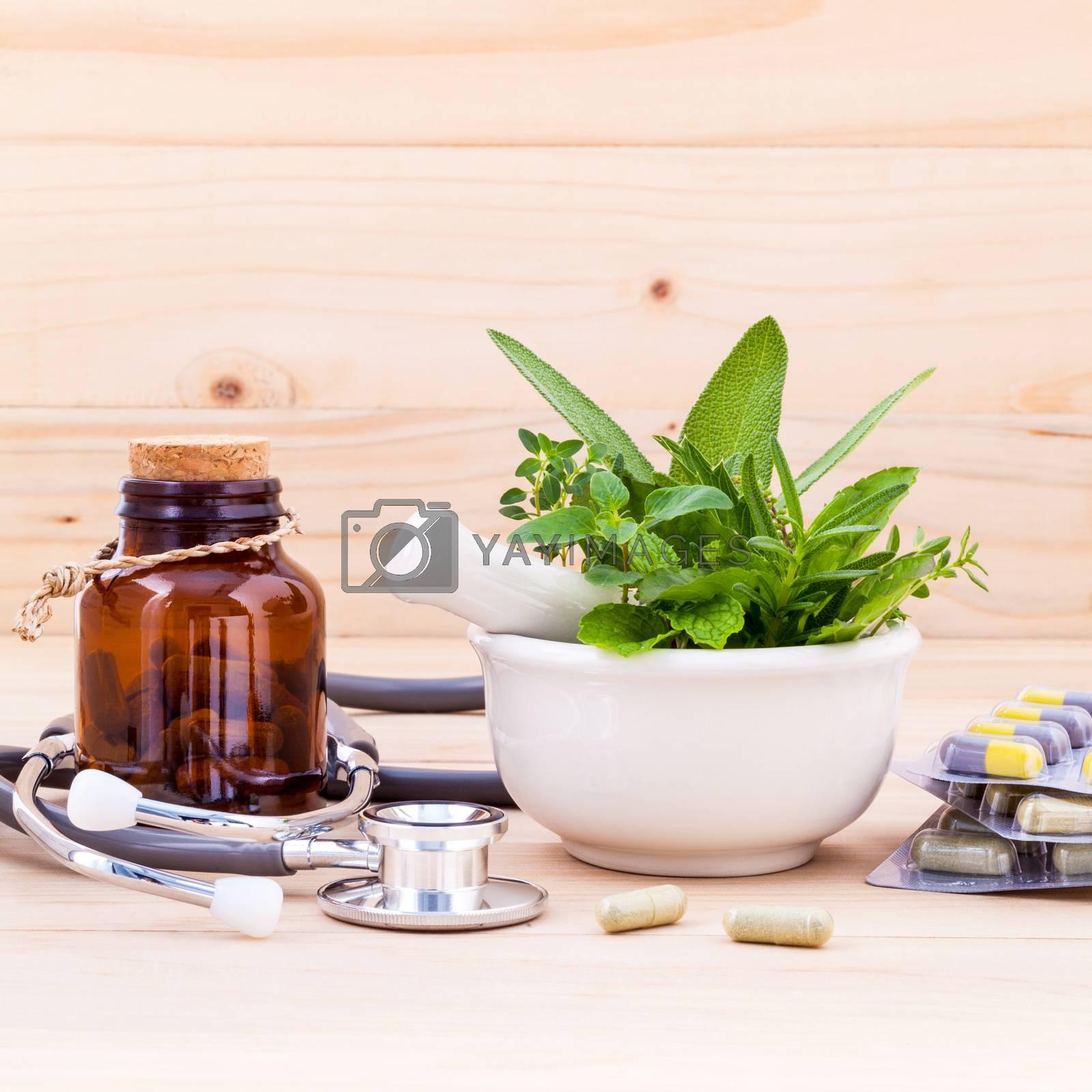 Capsule of herbal medicine alternative healthy care with stethos by kerdkanno
